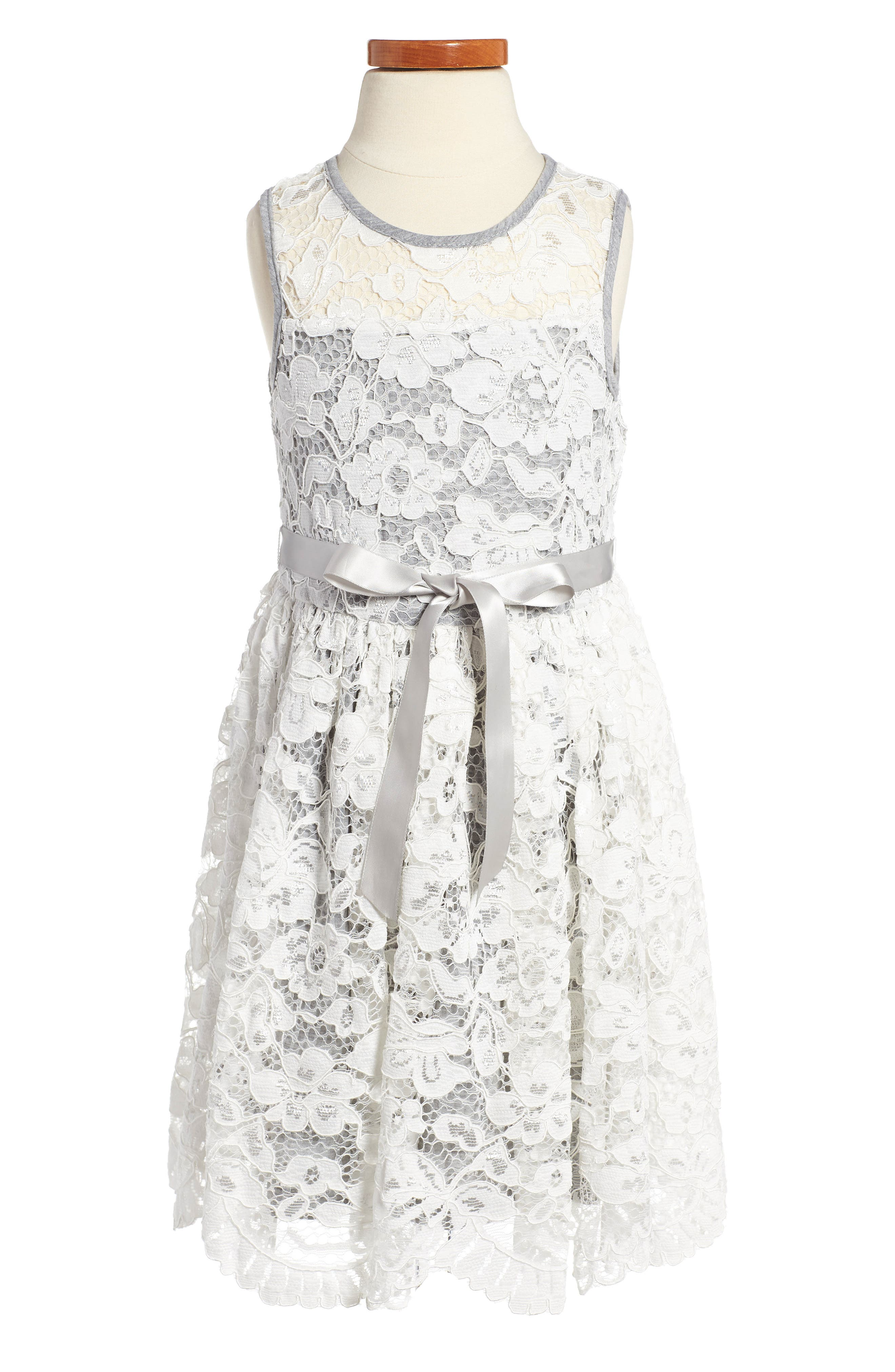Scalloped Floral Lace Dress,                             Main thumbnail 1, color,                             Ivory/ Grey