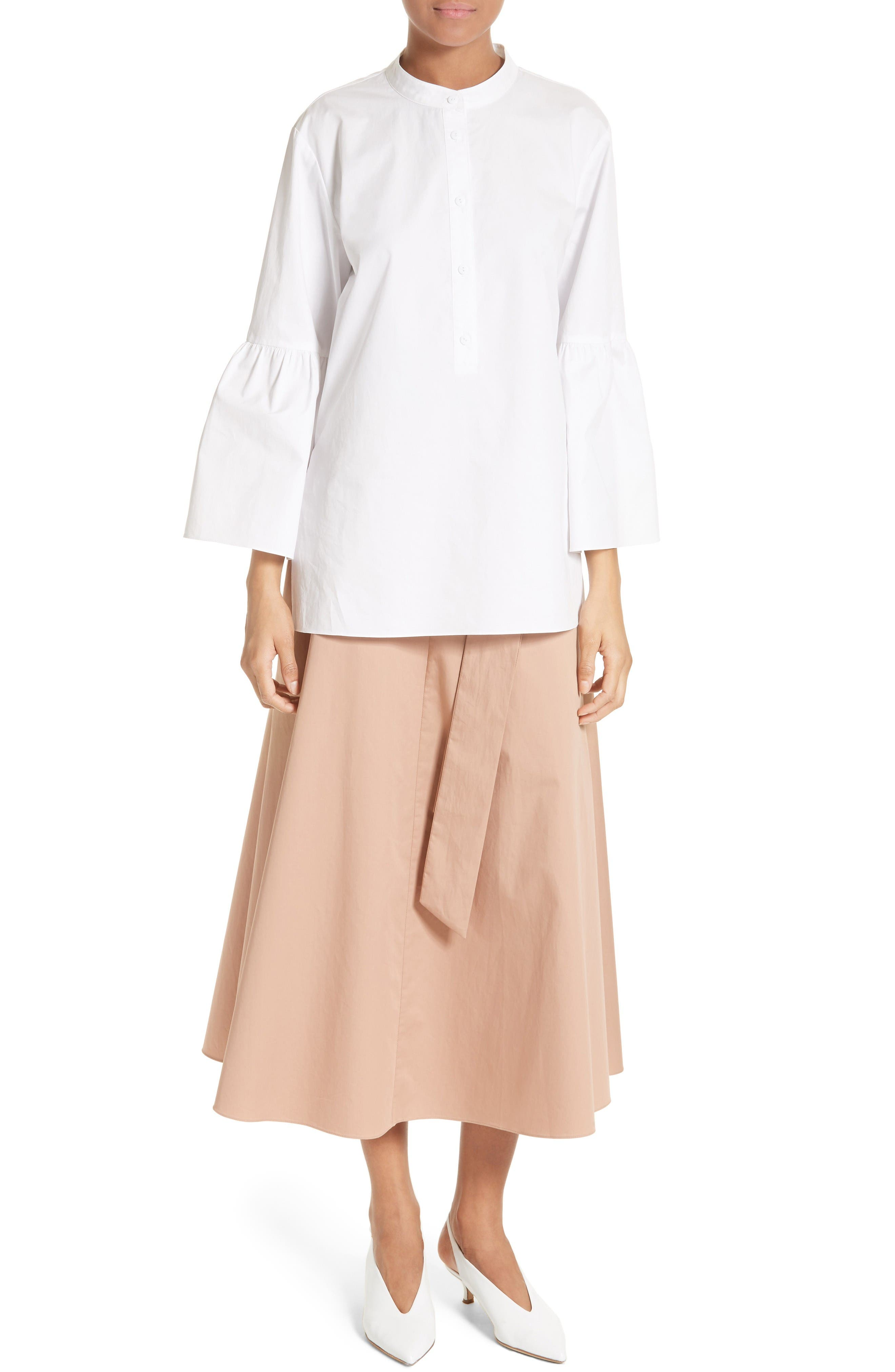 Shirred Satin Poplin Shirt,                             Alternate thumbnail 2, color,                             White