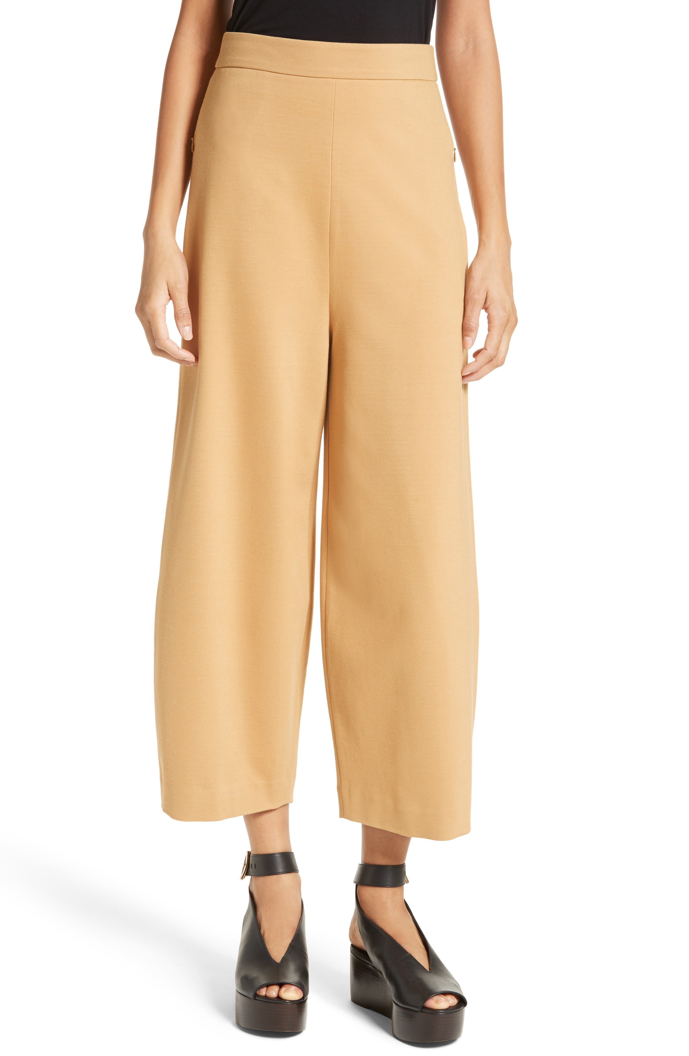 High Rise Knit Crop Wide Leg Pants,                         Main,                         color, Chene