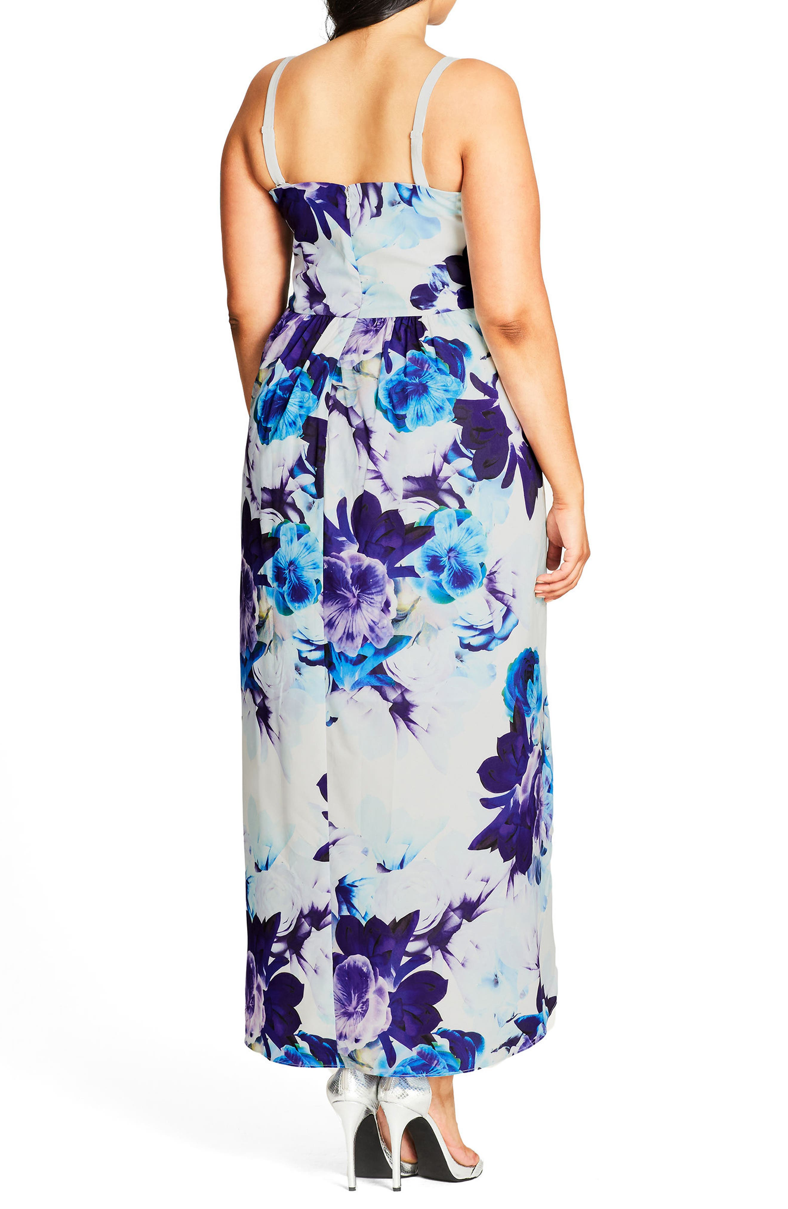 Alternate Image 2  - City Chic Blue Bloom High/Low Maxi Dress (Plus Size)
