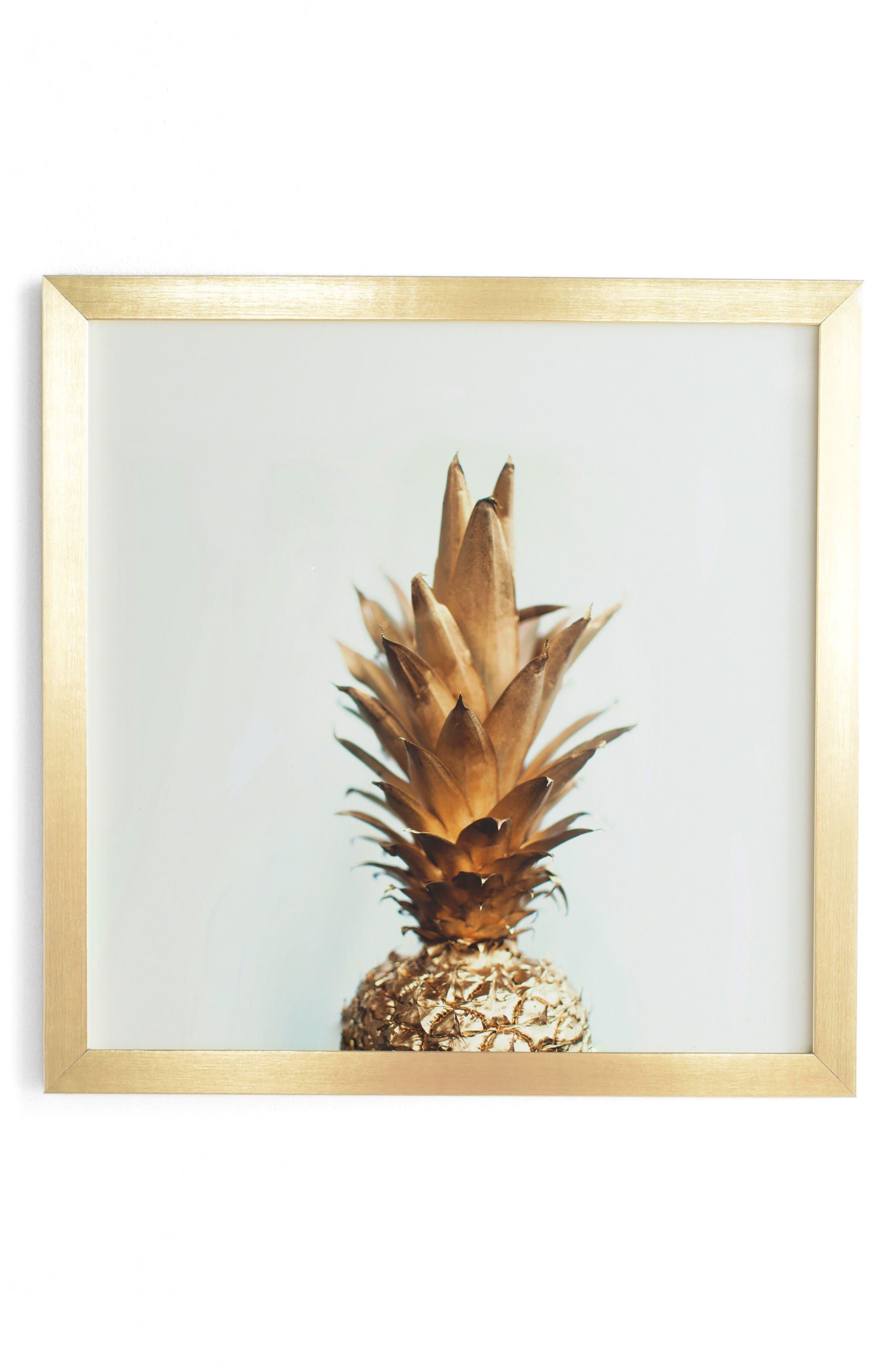 Alternate Image 1 Selected - DENY Designs The Gold Pineapple Framed Wall Art