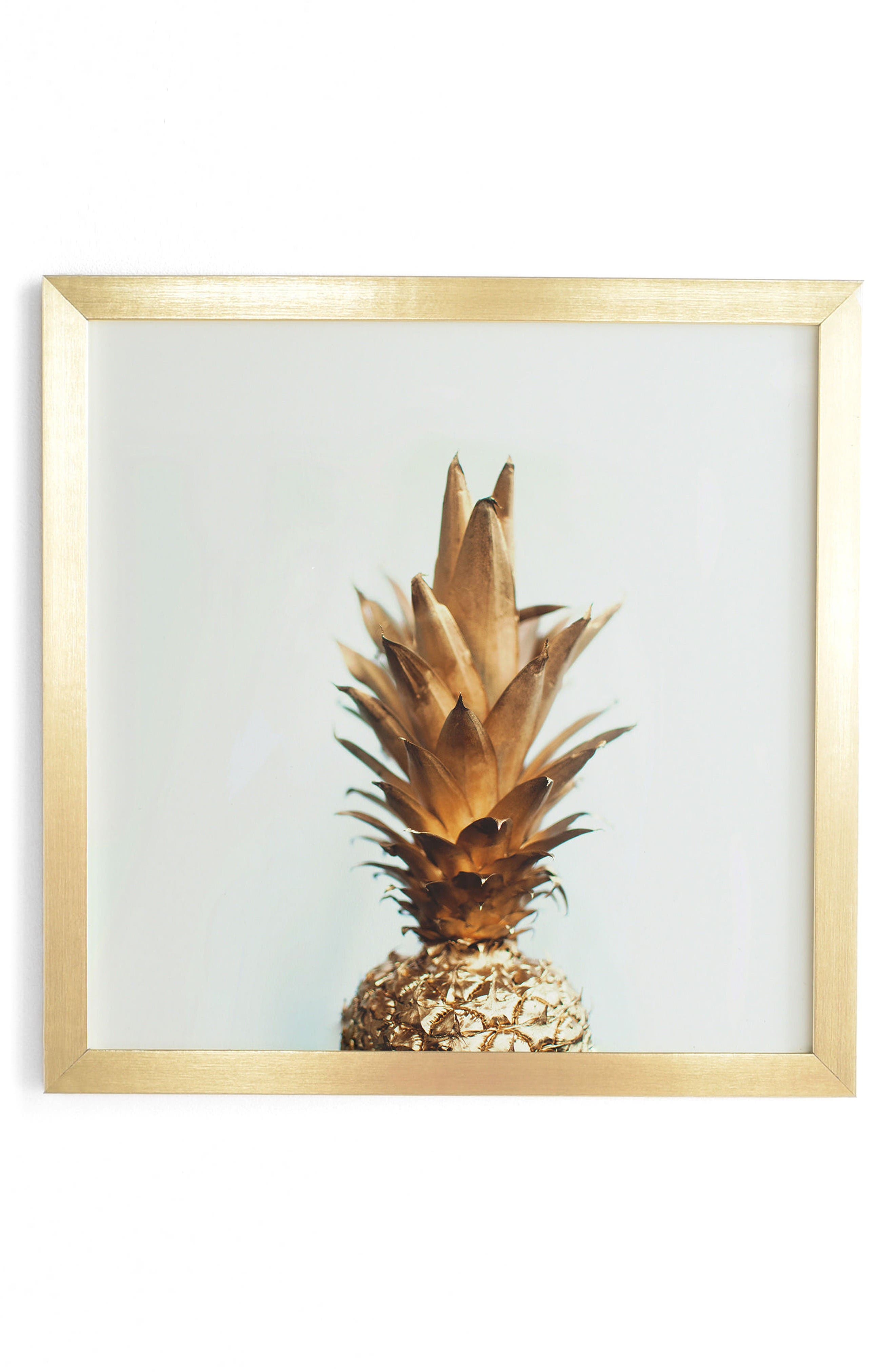 The Gold Pineapple Framed Wall Art,                         Main,                         color, Gold