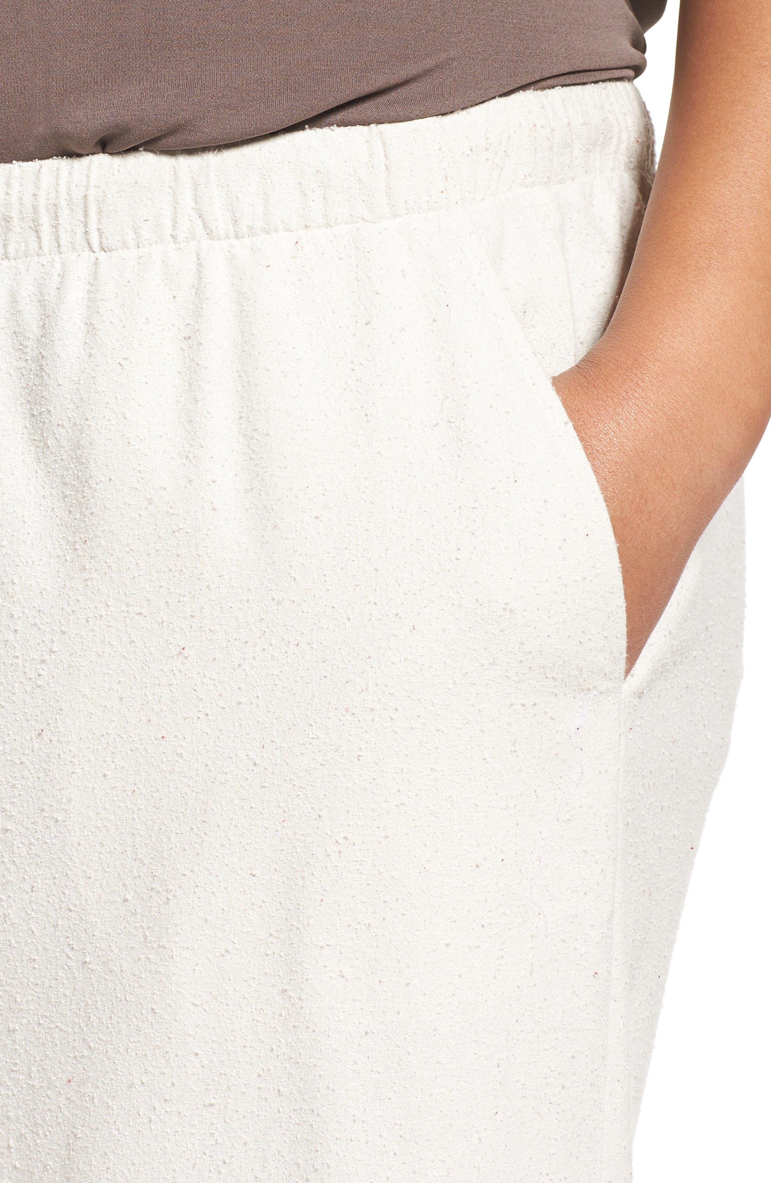 Silk Noil Wide Leg Pants,                             Alternate thumbnail 4, color,                             Bone