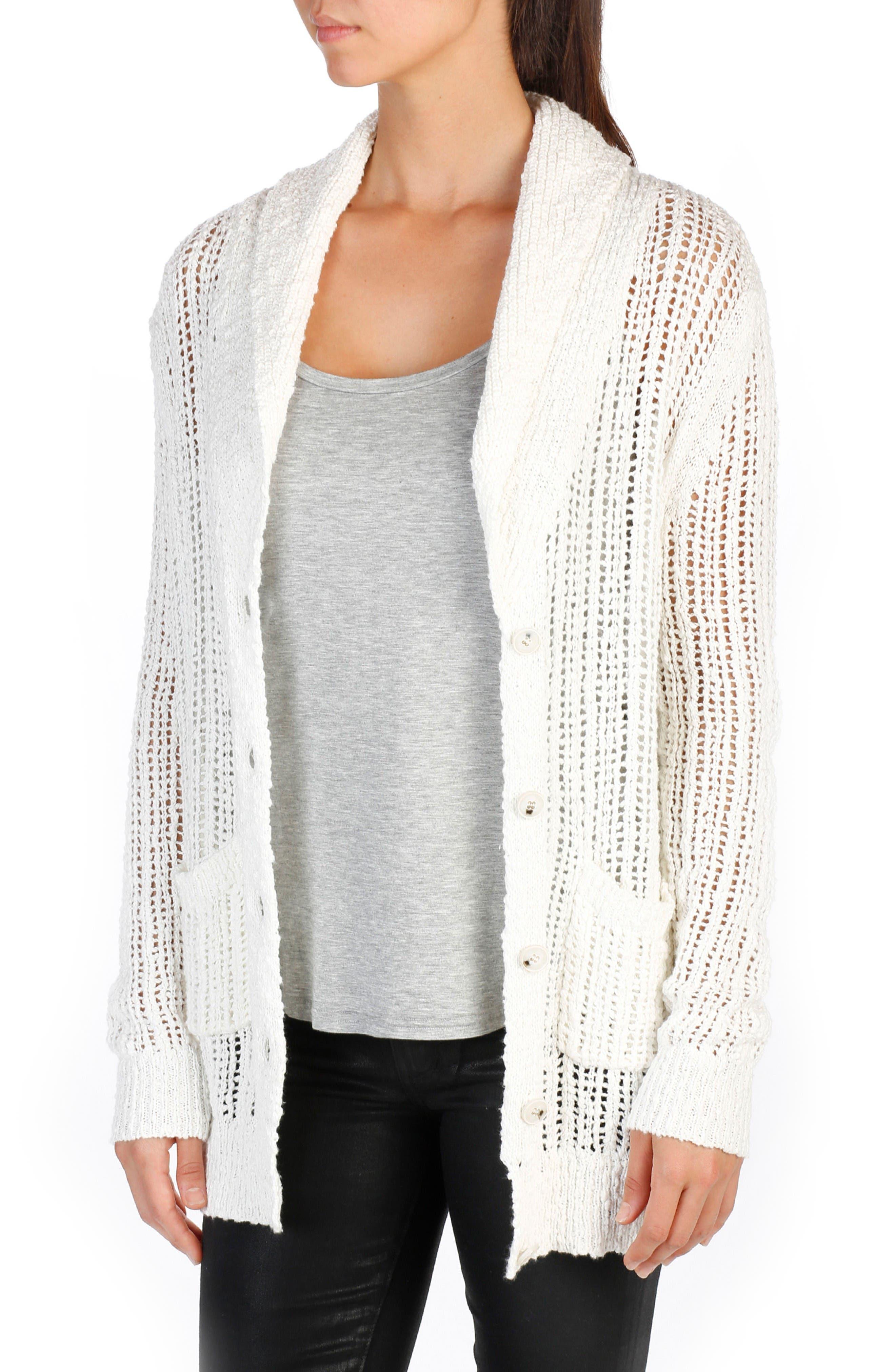 Aimee Cotton Cardigan,                         Main,                         color, Bone
