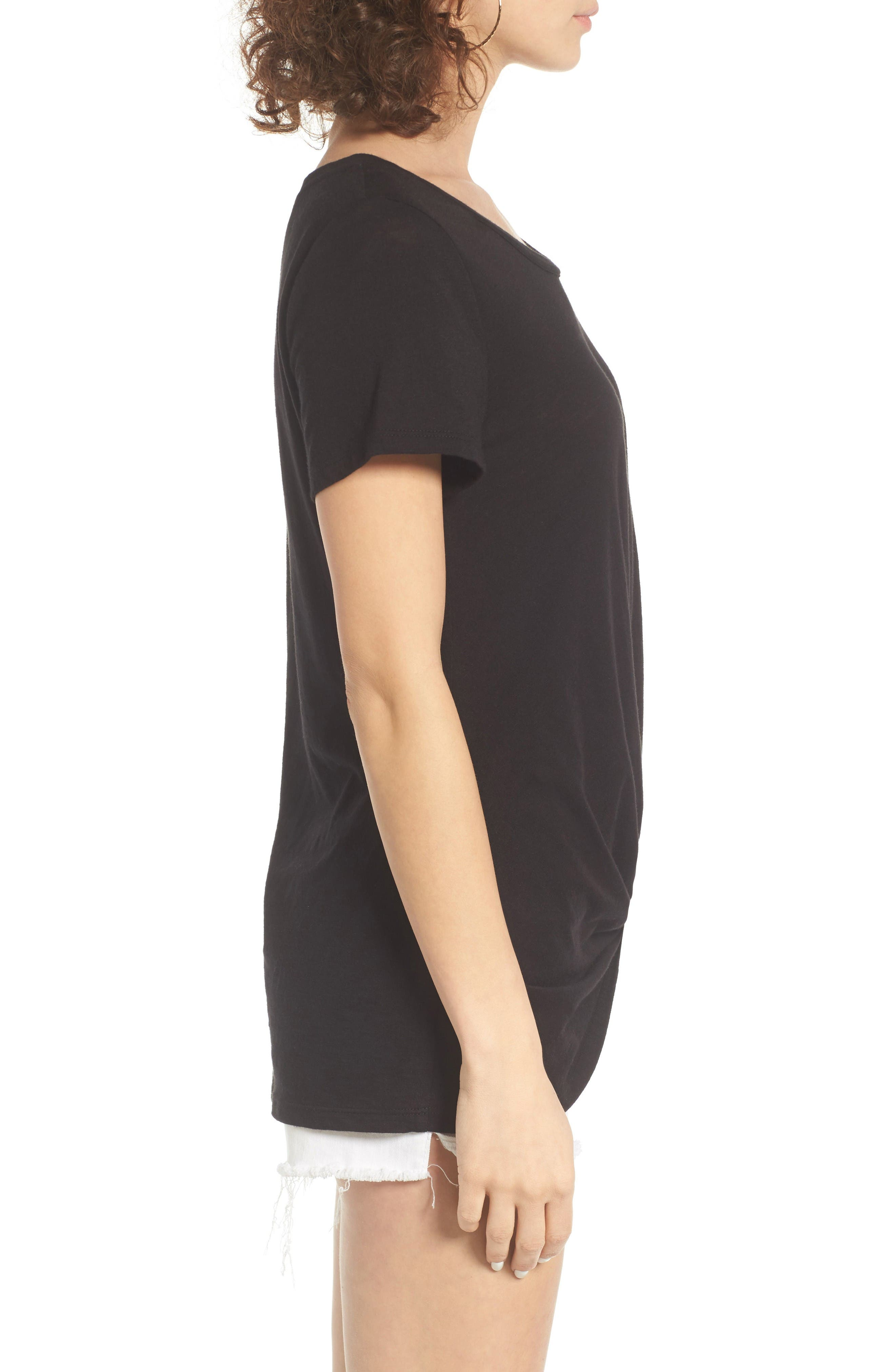 Twist Front Tee,                             Alternate thumbnail 3, color,                             Black