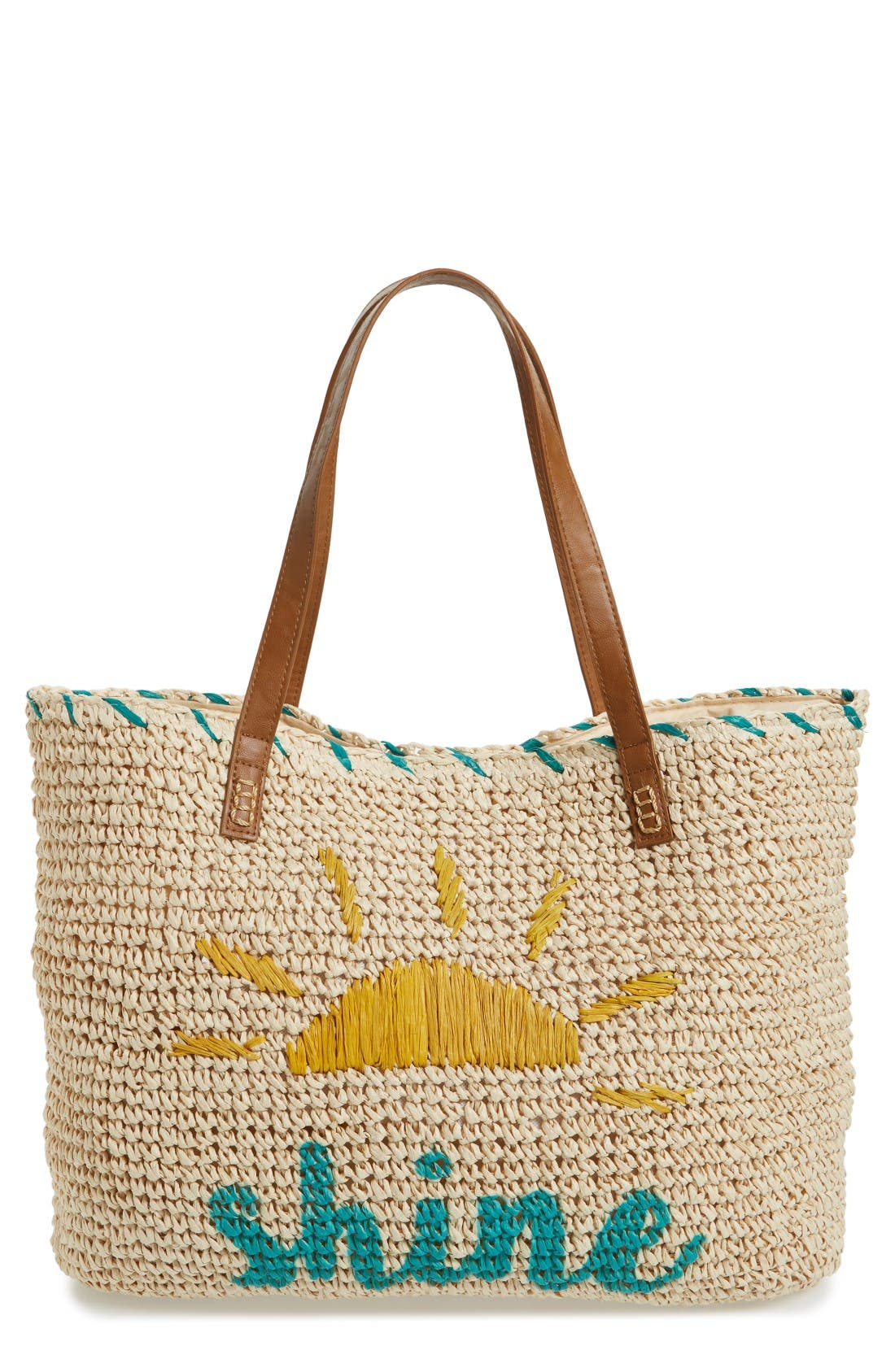 Alternate Image 1 Selected - Nordstrom Shine Straw Tote