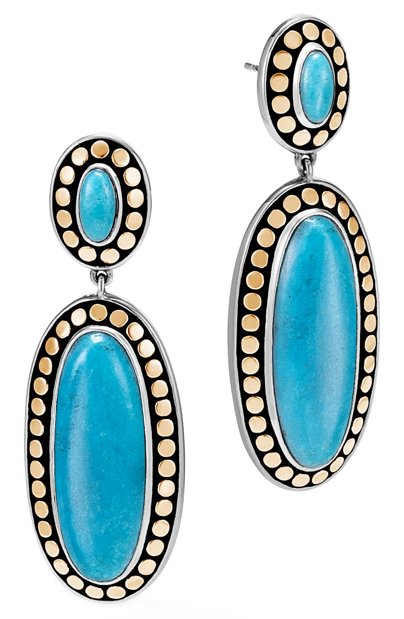 Dot Oval Drop Earrings,                             Main thumbnail 1, color,                             Silver/ Gold/ Turquoise