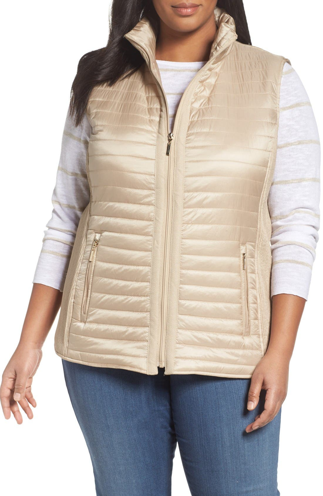 Main Image - Gallery Mixed Media Zip Front Vest (Plus Size)