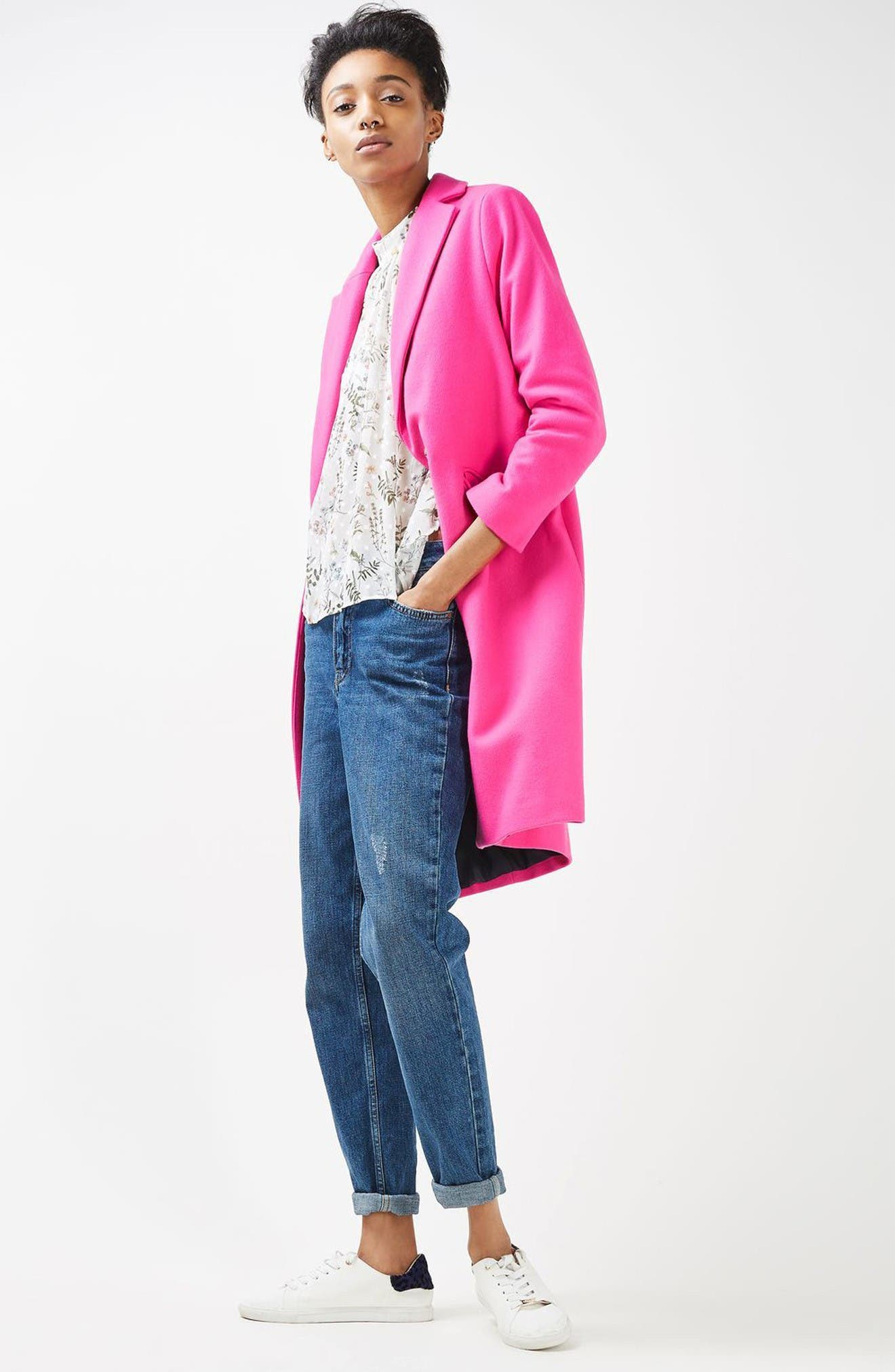 Alternate Image 2  - Topshop Neon Wool Blend Coat (Petite)