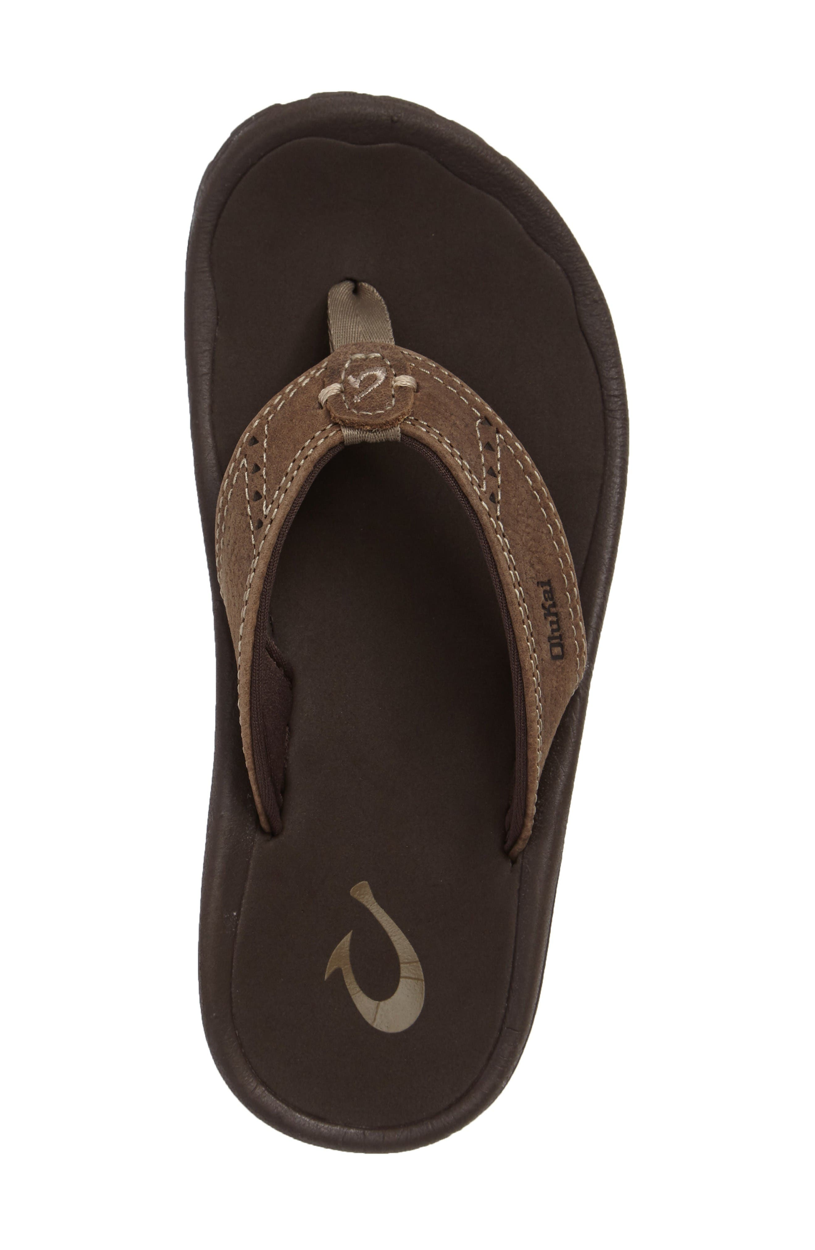 Nui Leather Flip Flop,                             Alternate thumbnail 3, color,                             Clay/ Dark Java