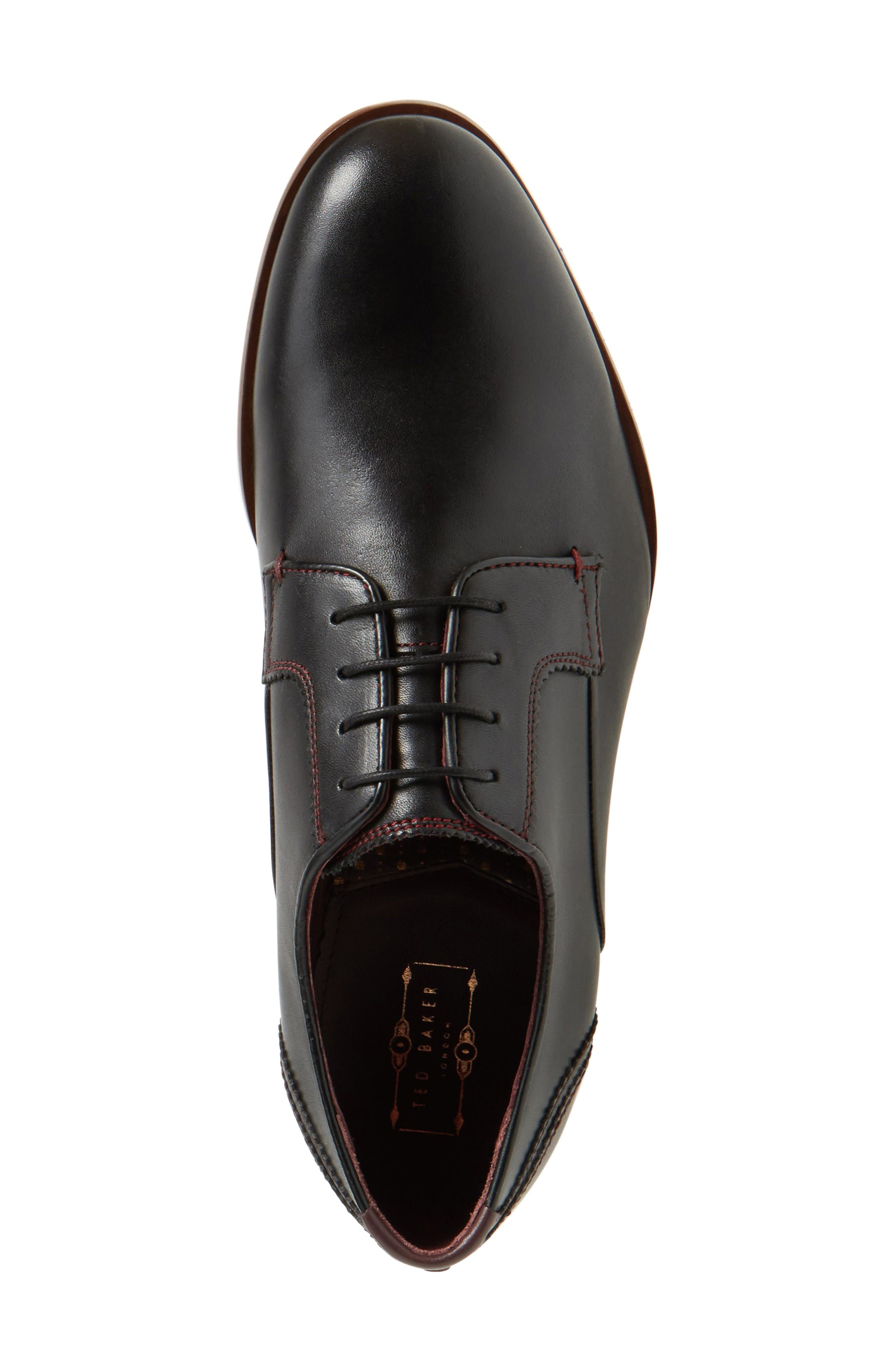 Iront Plain Toe Derby,                             Alternate thumbnail 3, color,                             Black Leather