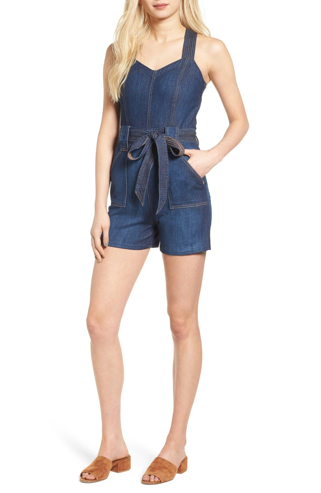 Denim Romper,                             Main thumbnail 1, color,                             Luxe Lounge Deep Blue (Lxld)