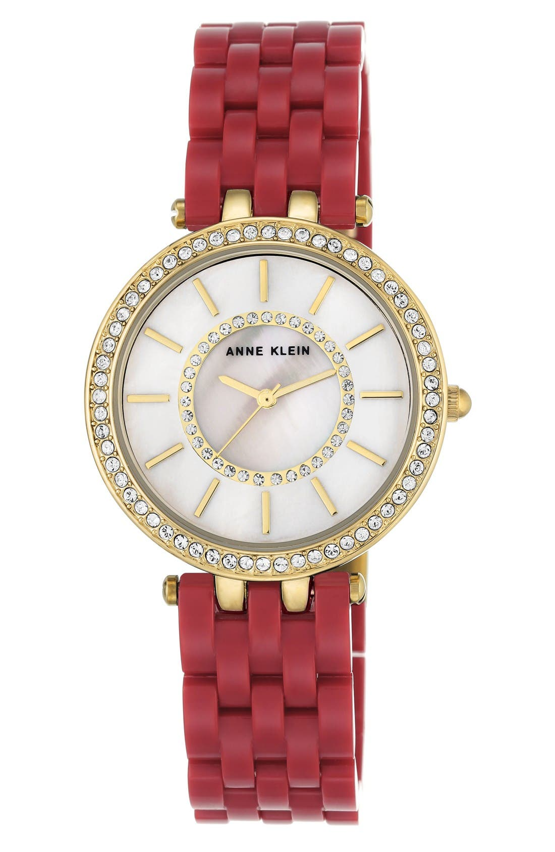 Bracelet Watch, 34mm,                             Main thumbnail 1, color,                             Red/ White/ Gold