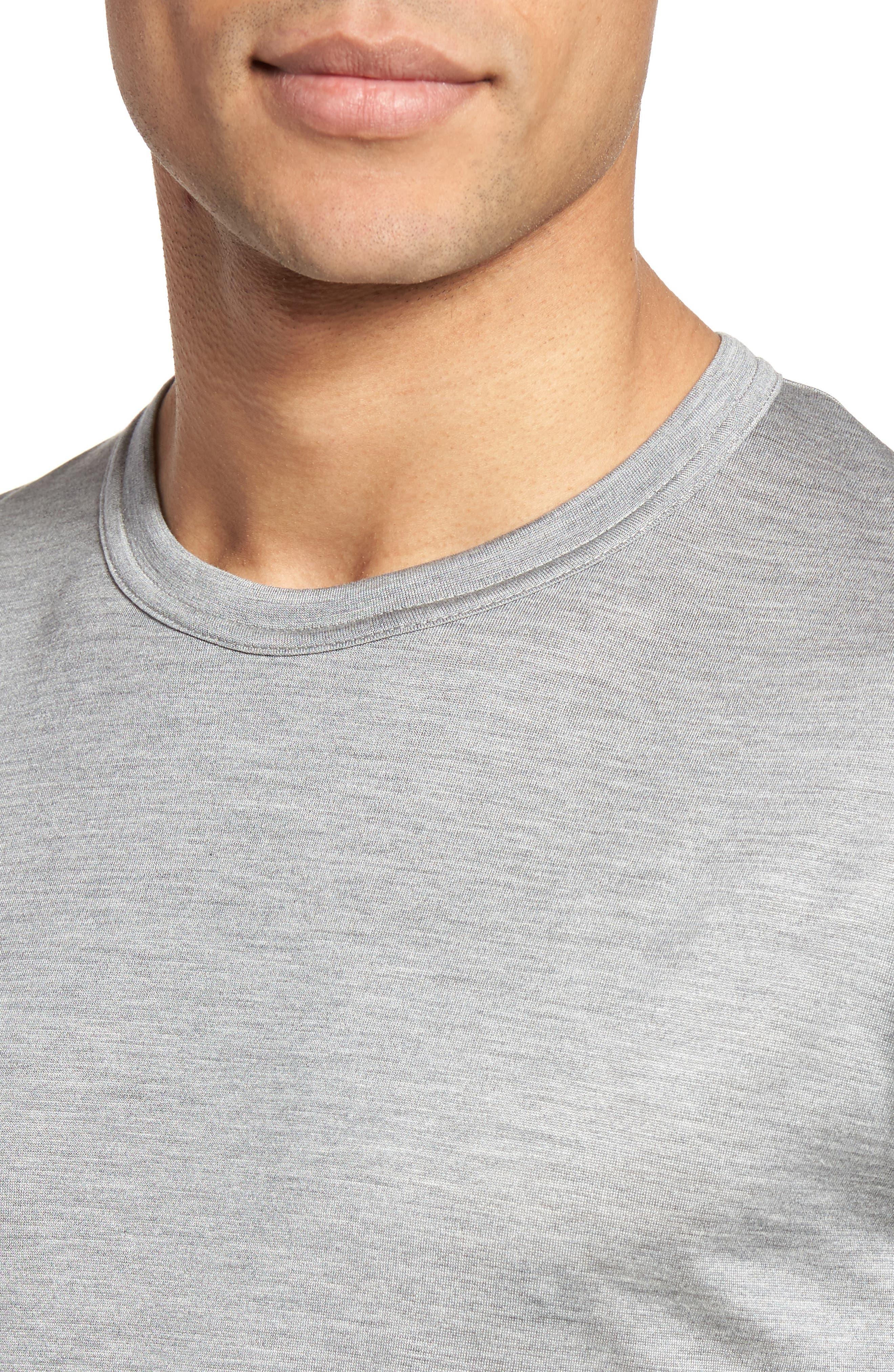 Colorblock Silk & Cotton T-Shirt,                             Alternate thumbnail 4, color,                             Light Grey/ Dark Grey