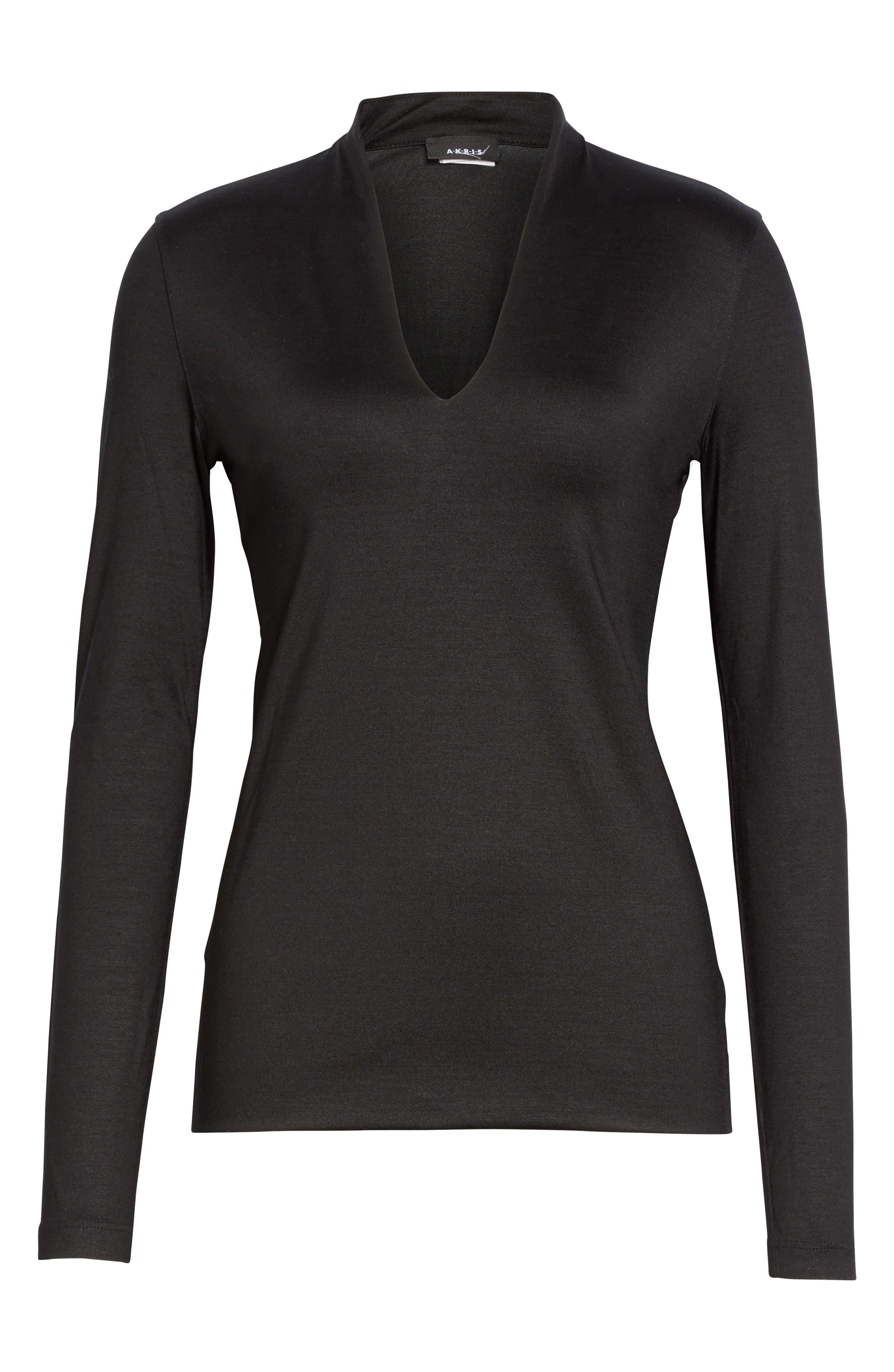 Alternate Image 4  - Akris Long Sleeve Silk Jersey Blouse
