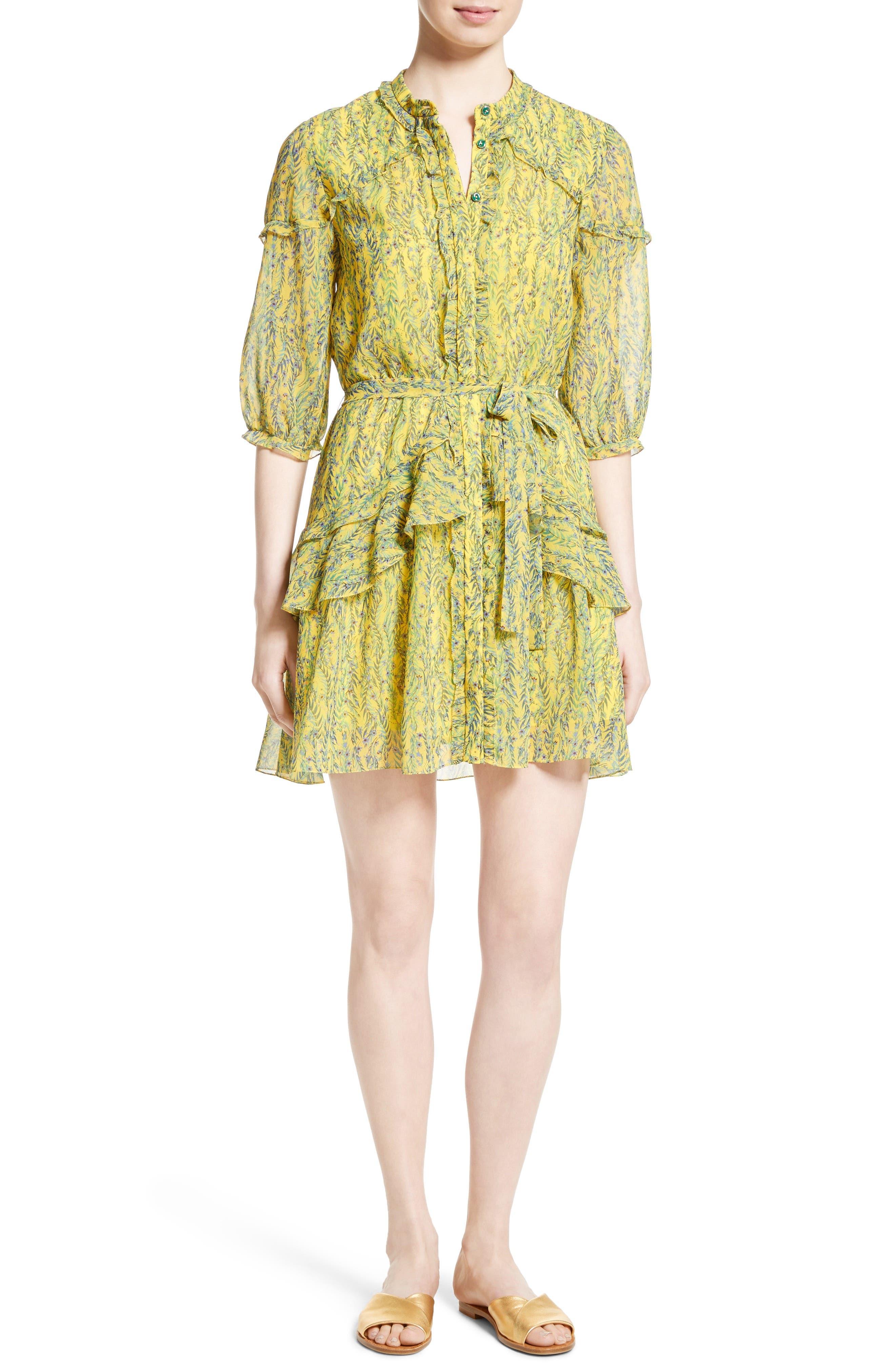 Tilly Ruffle Silk Dress,                             Main thumbnail 1, color,                             Lemon Daisychain