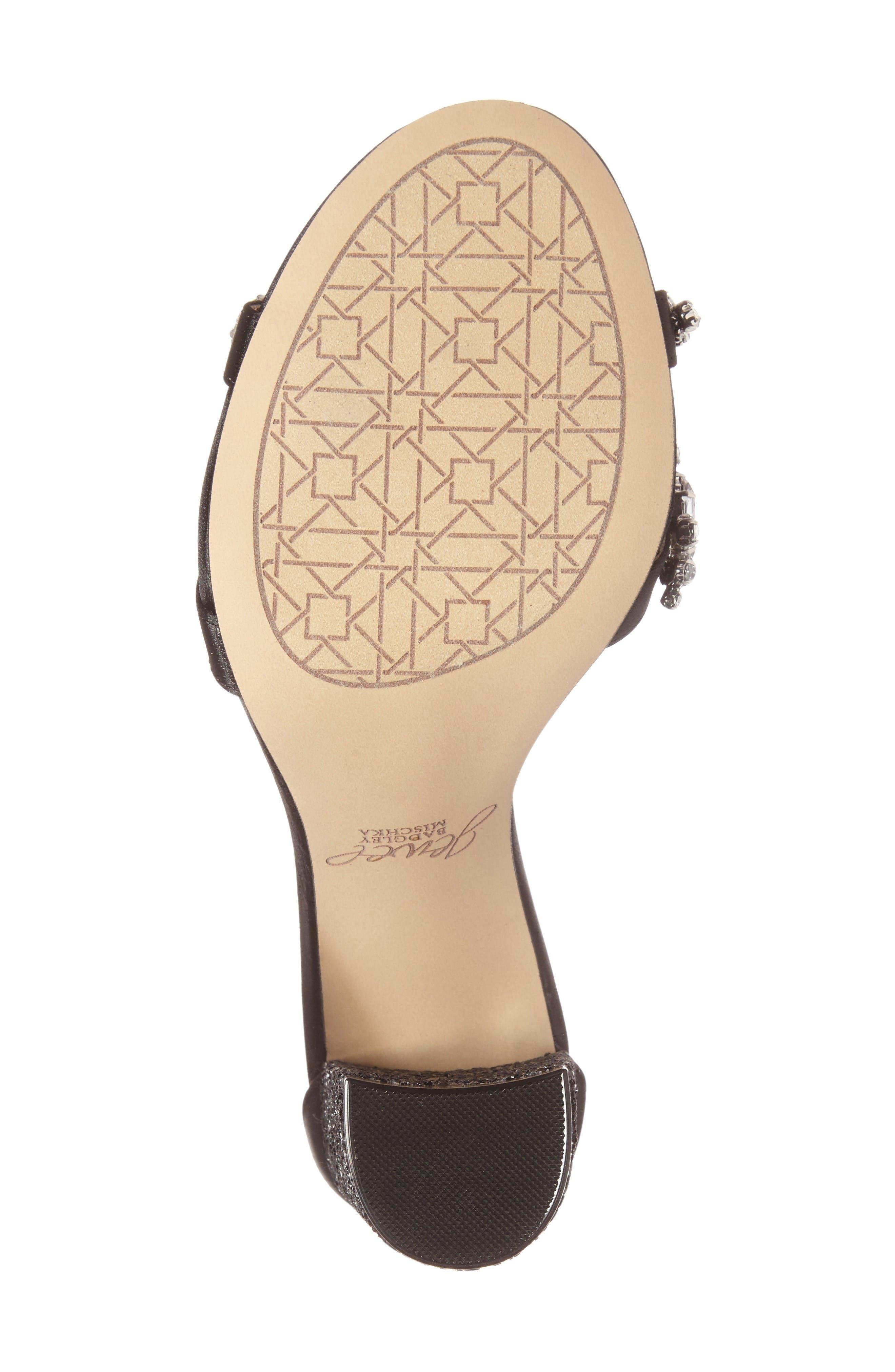 Carver Block Heel Sandal,                             Alternate thumbnail 4, color,                             Black Satin