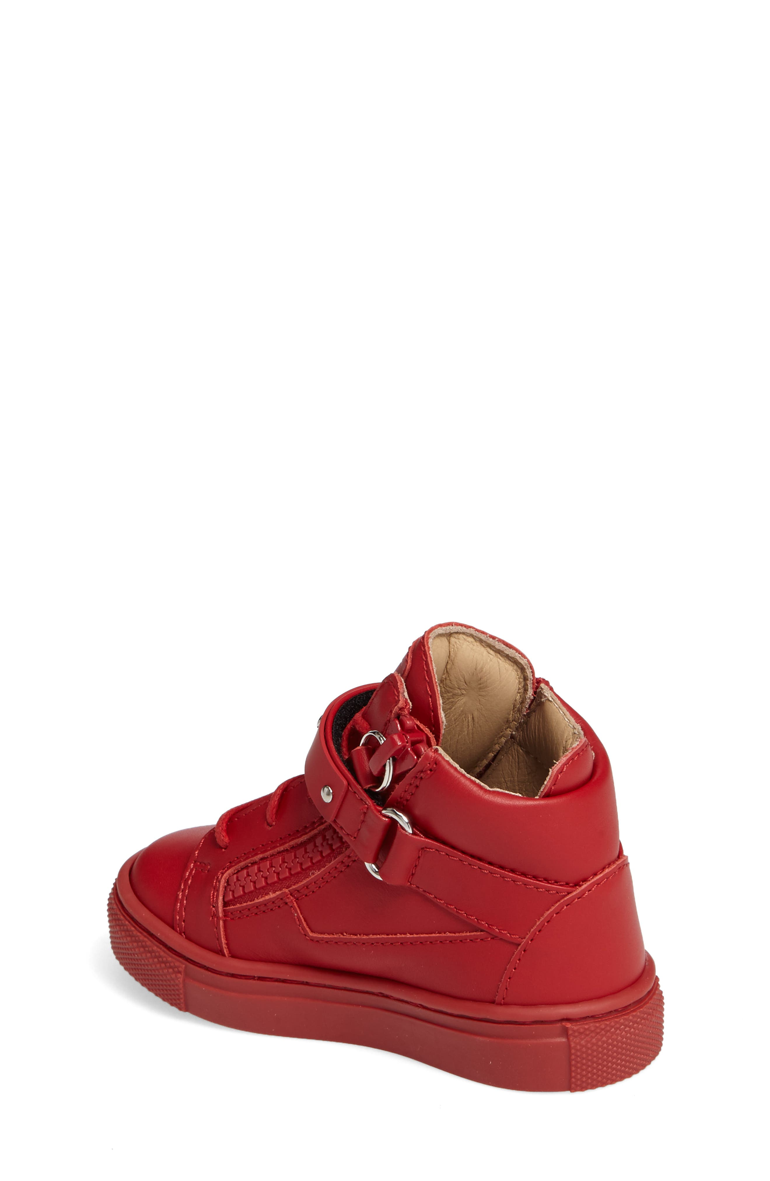 Taylor Junior High Top Sneaker,                             Alternate thumbnail 2, color,                             Red Leather