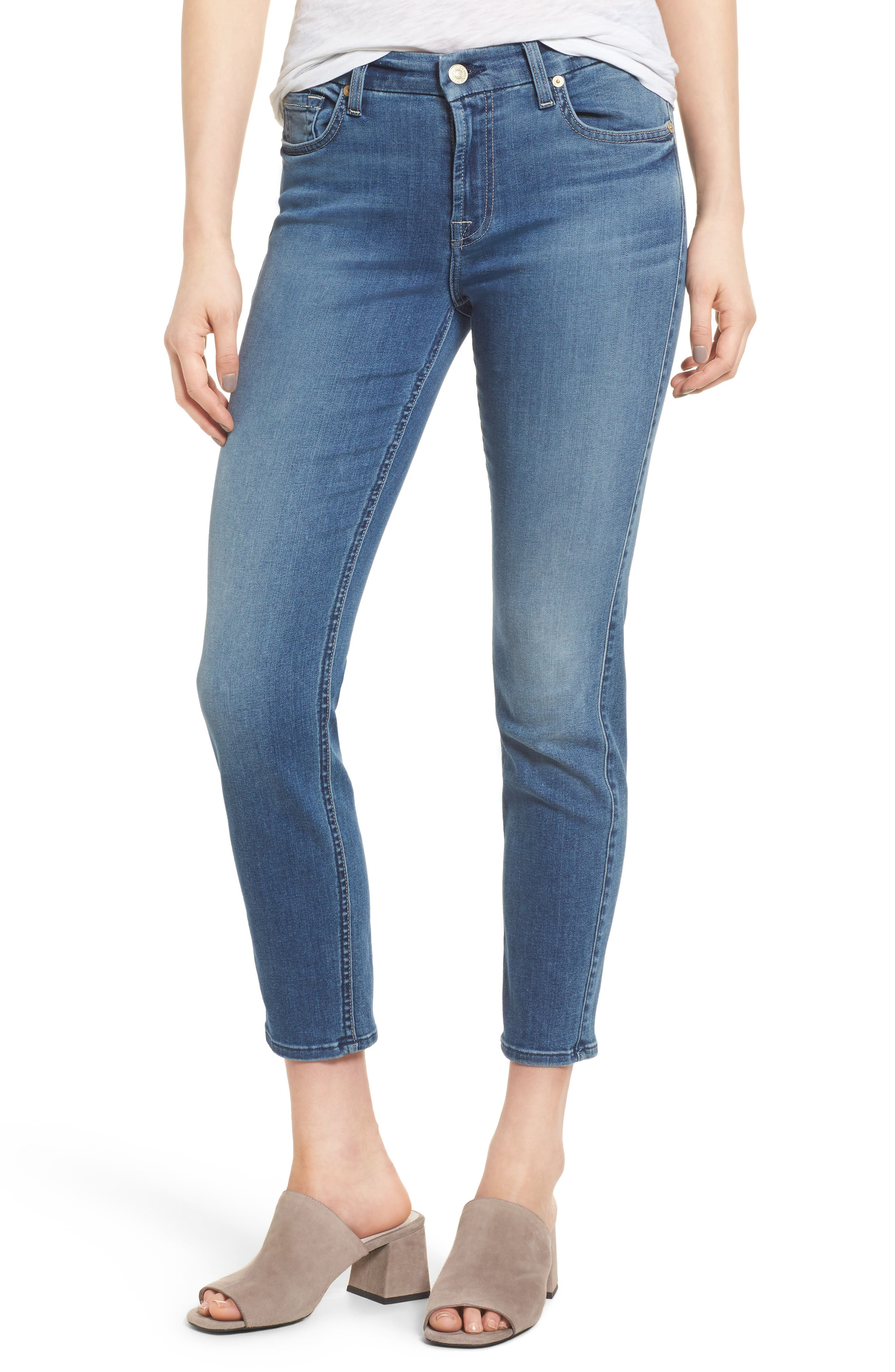 Alternate Image 1 Selected - 7 For All Mankind® b(air) - Kimmie Crop Straight Leg Jeans (Bair Sunset)