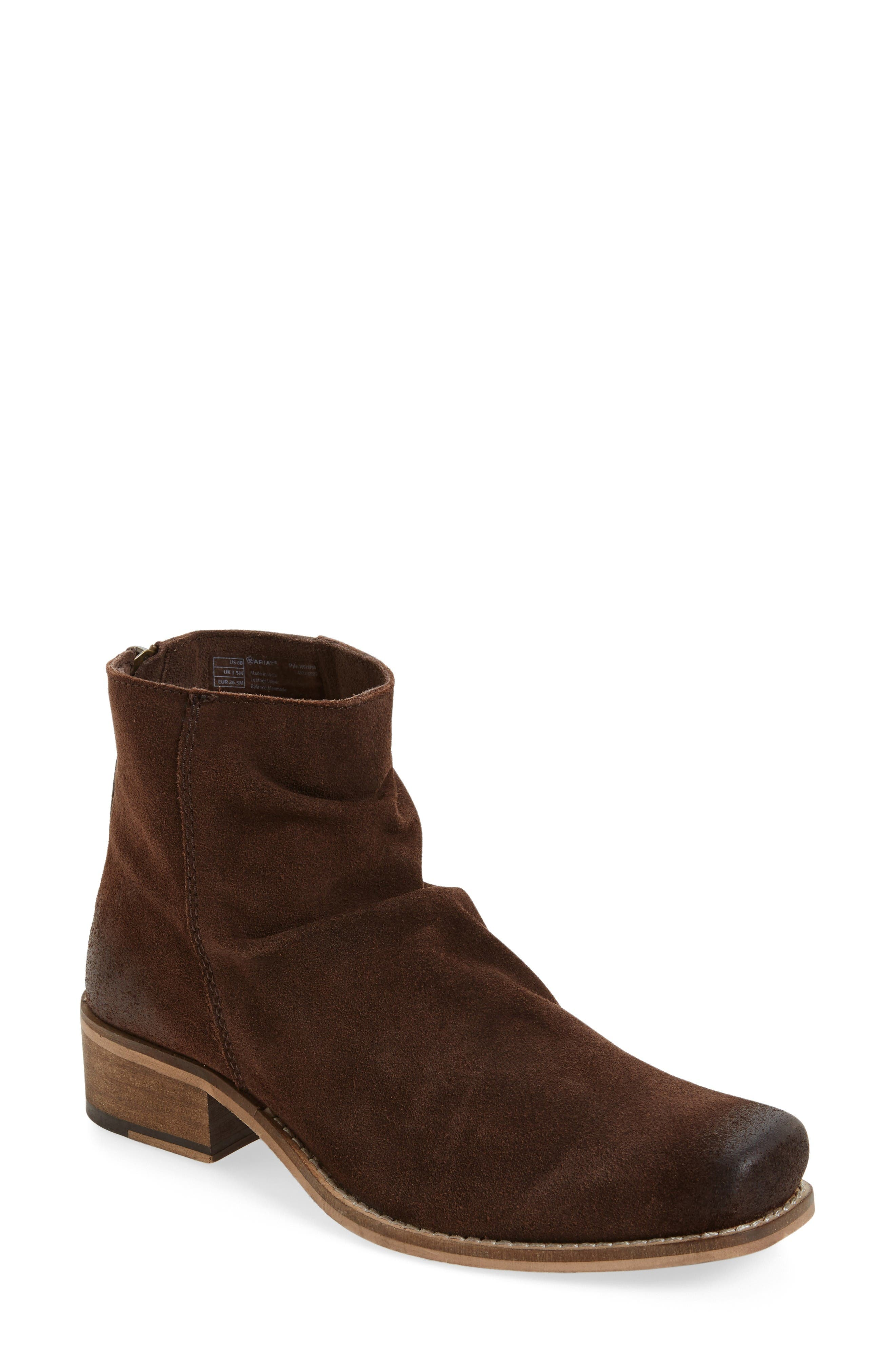 Unbridled Sloan Slouchy Bootie,                             Main thumbnail 1, color,                             Dark Brown Leather