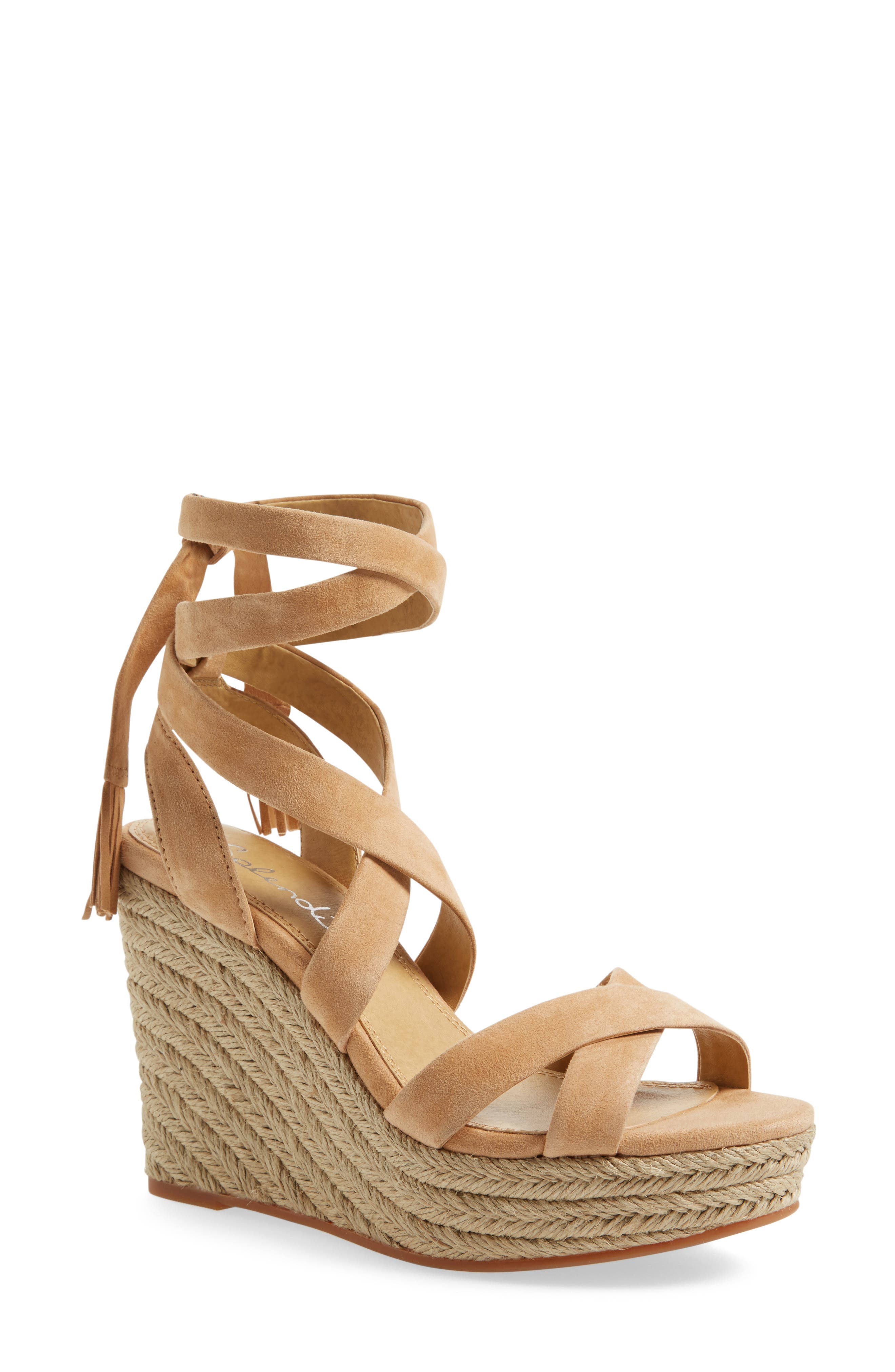 Janice Espadrille Wedge Sandal,                             Main thumbnail 1, color,                             Nude Suede