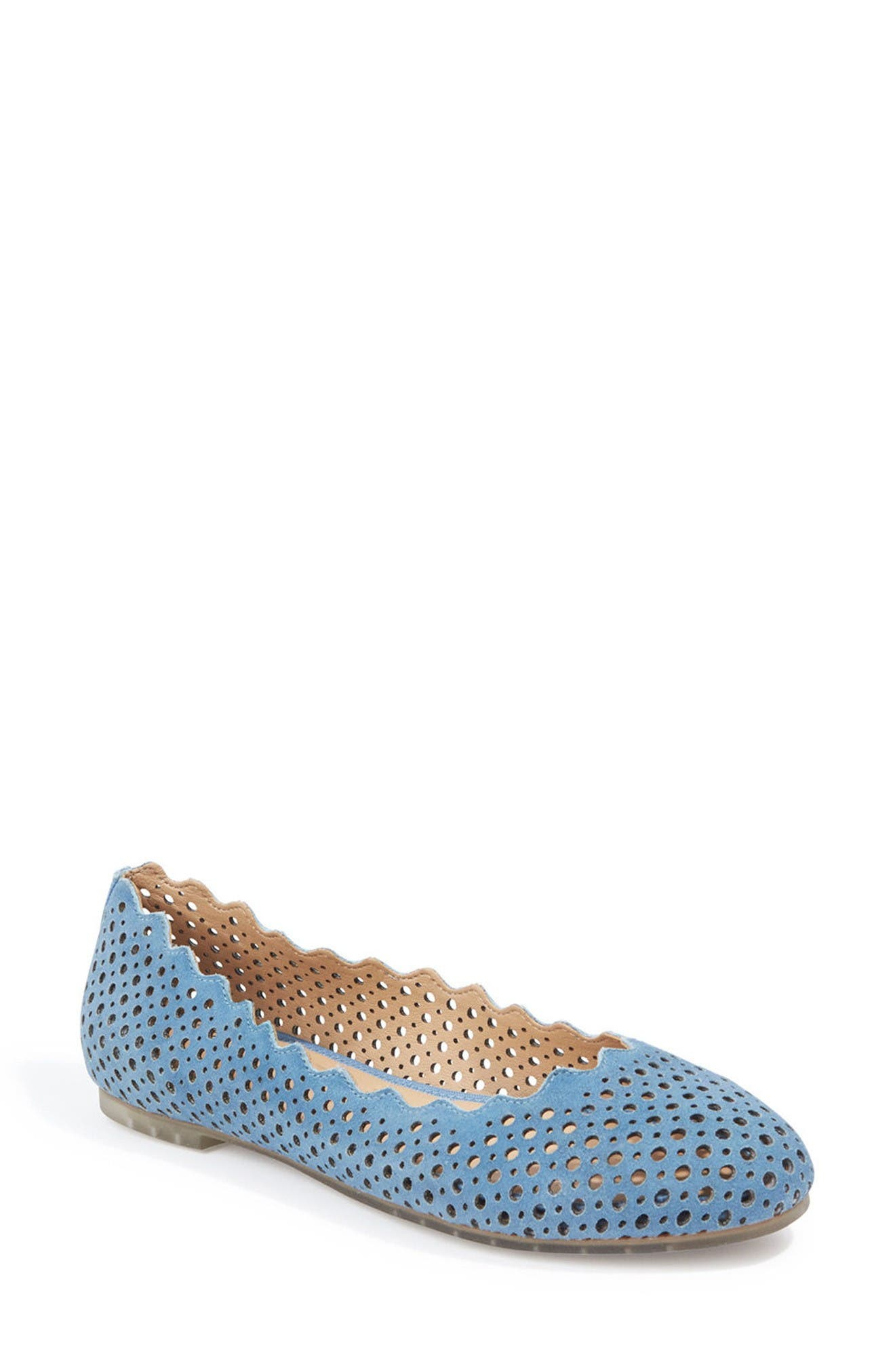 Carlee Scalloped Flat,                         Main,                         color, Sky Blue Suede