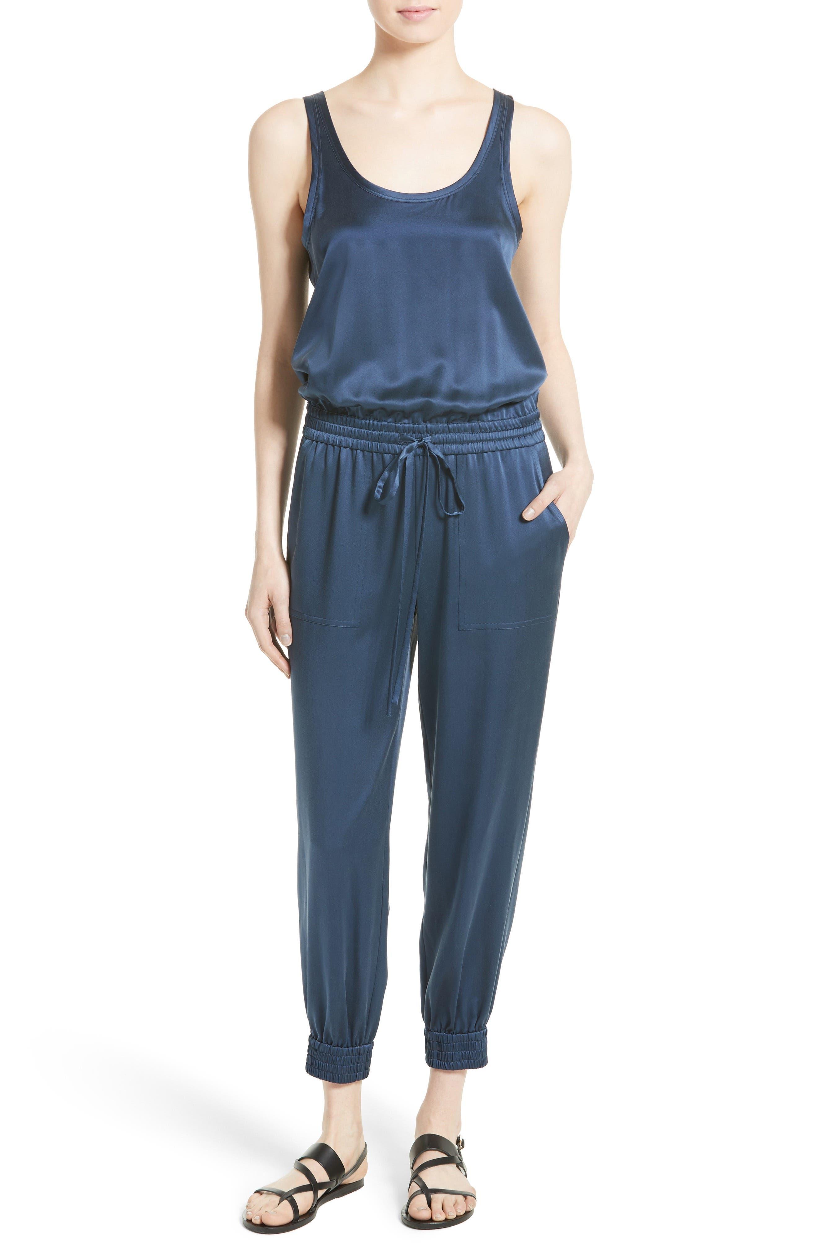 Hekuba Silk Jumpsuit,                         Main,                         color, Dark Brisk