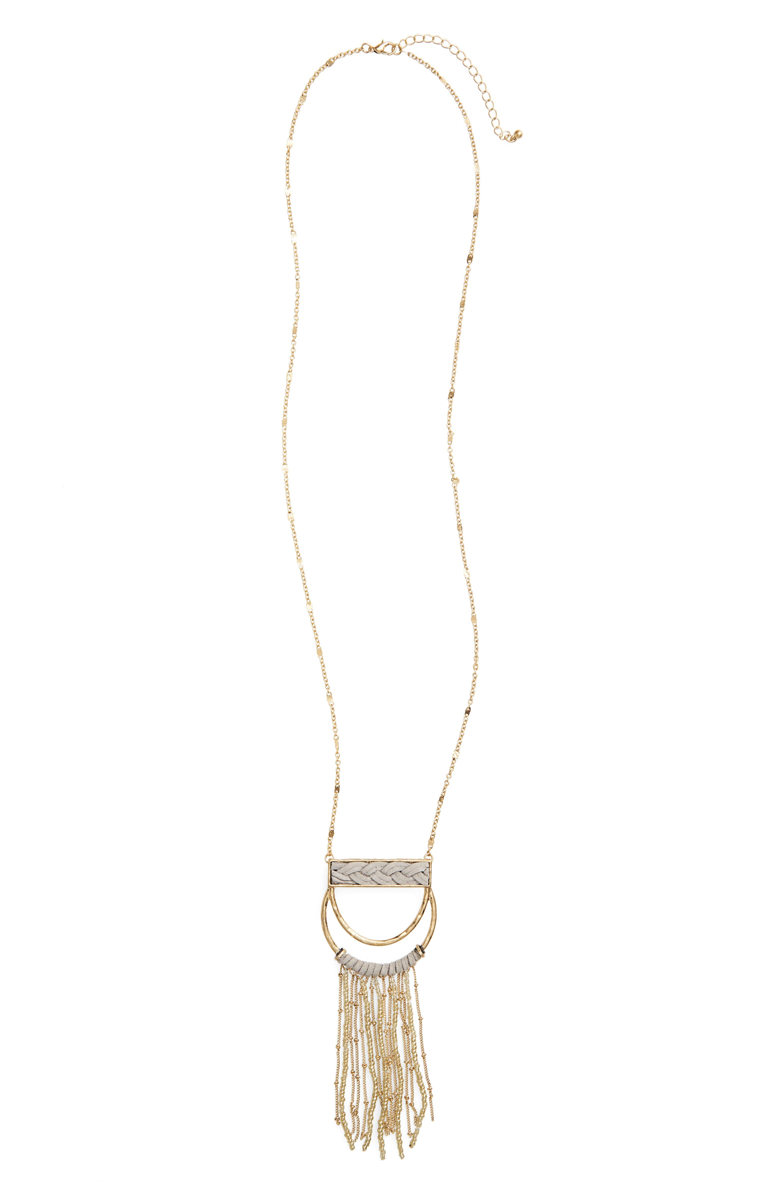 Main Image - Panacea Suede Wrapped Pendant Necklace with Beaded Fringe