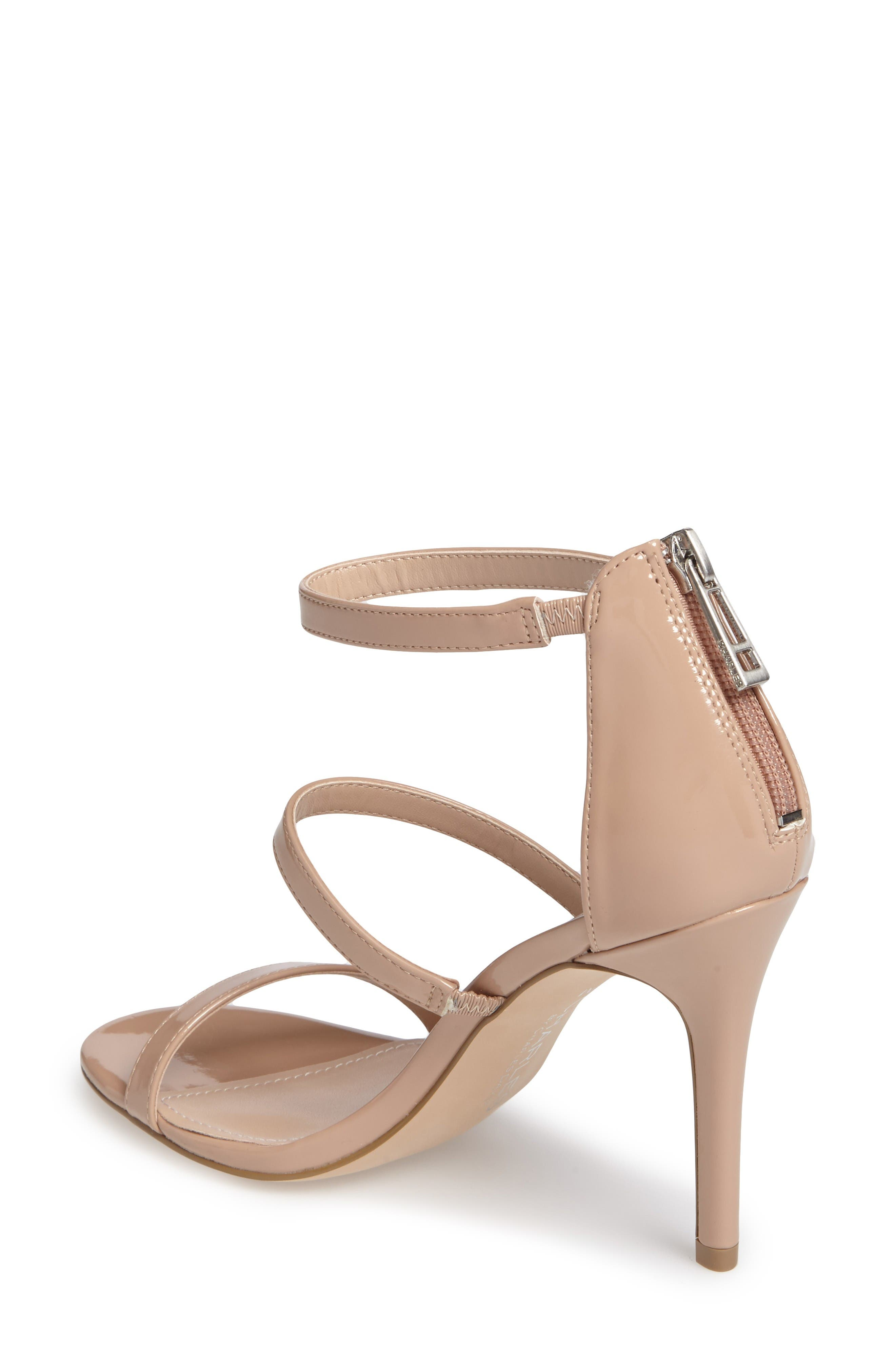 Ria Strappy Sandal,                             Alternate thumbnail 2, color,                             Nude Patent Leather