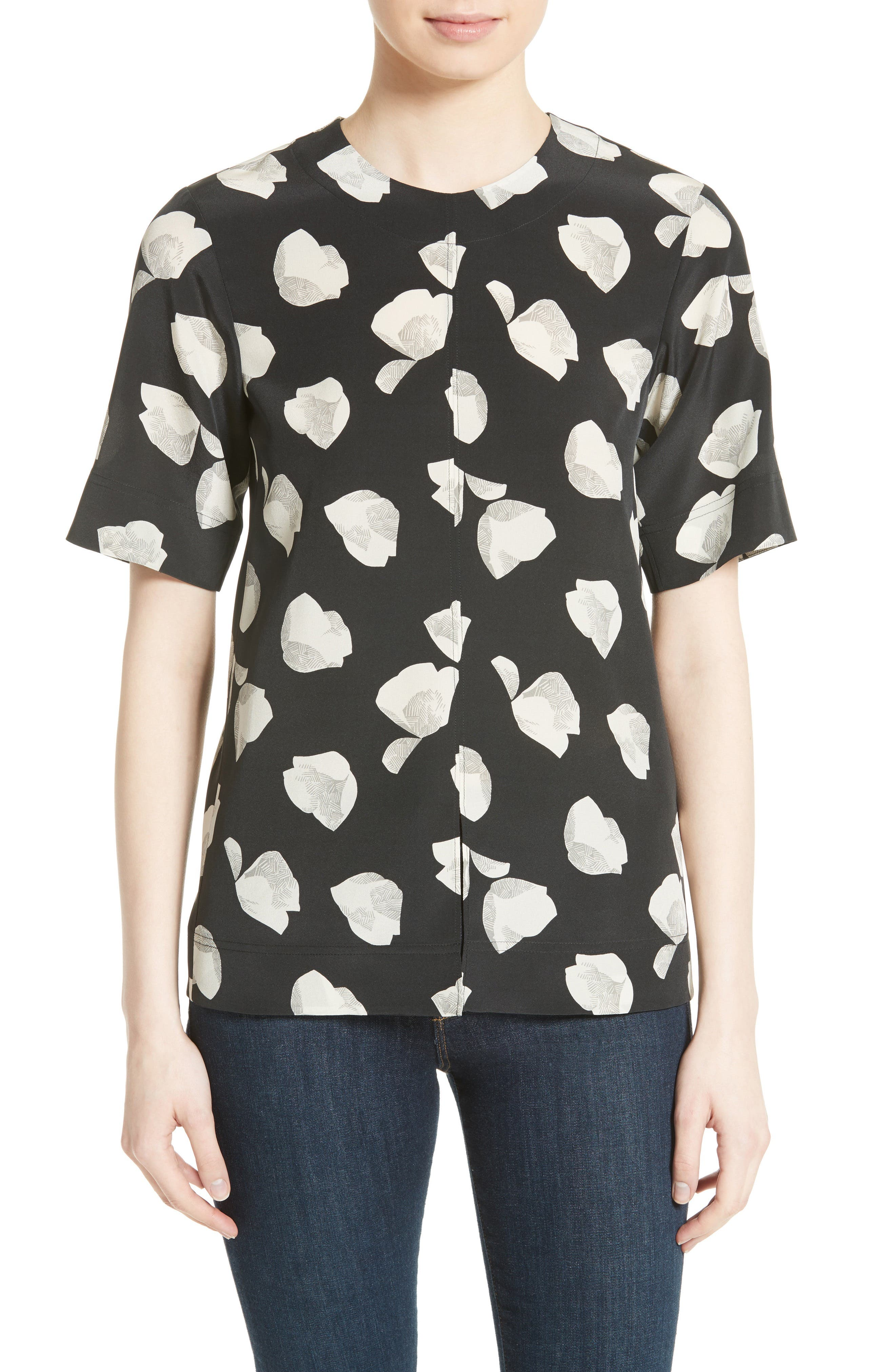 THEORY Edgara Harper Print Silk Top