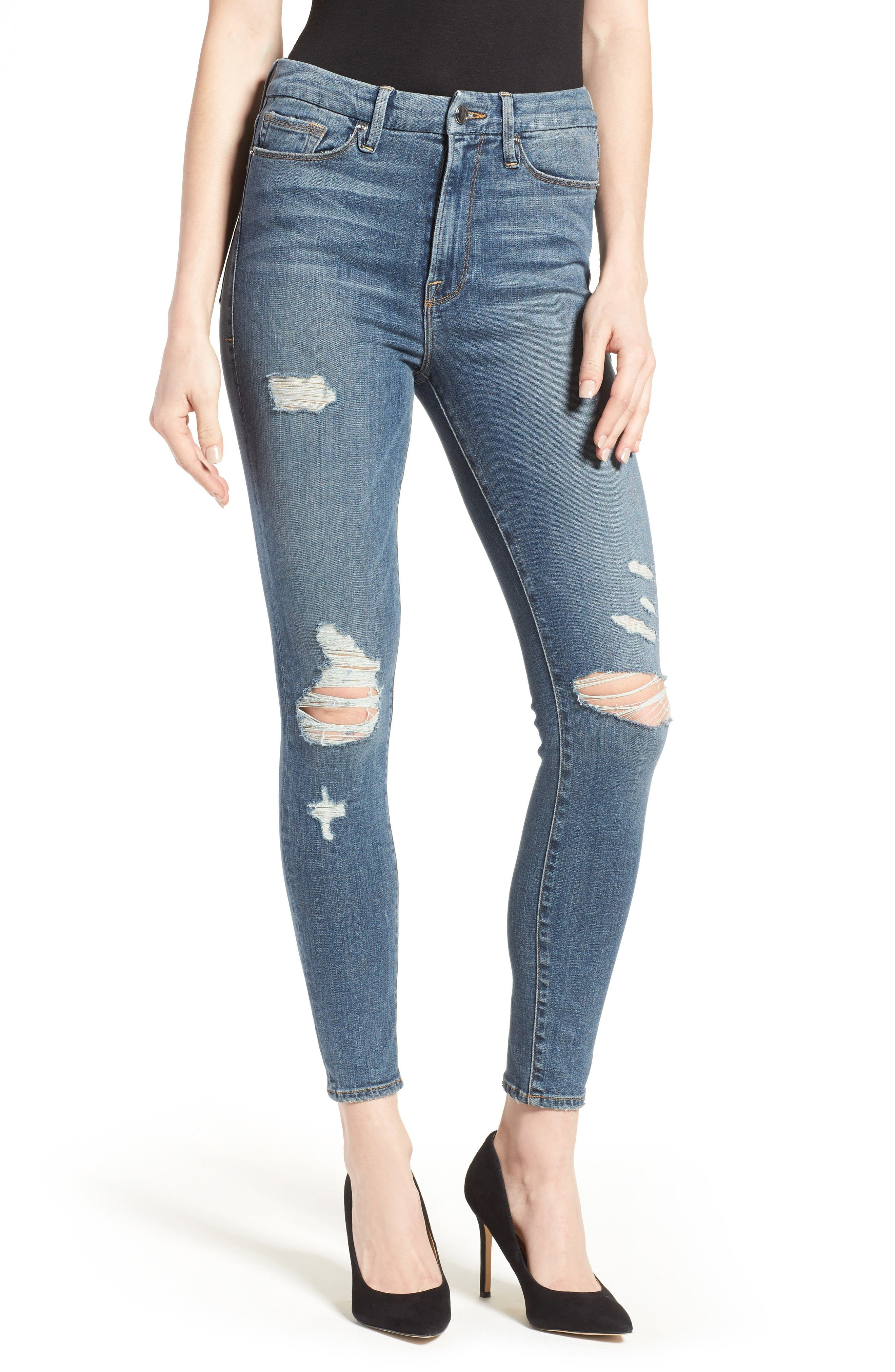 Alternate Image 7  - Good American Good Waist High Waist Ripped Skinny Jeans (Blue 026) (Extended Sizes)