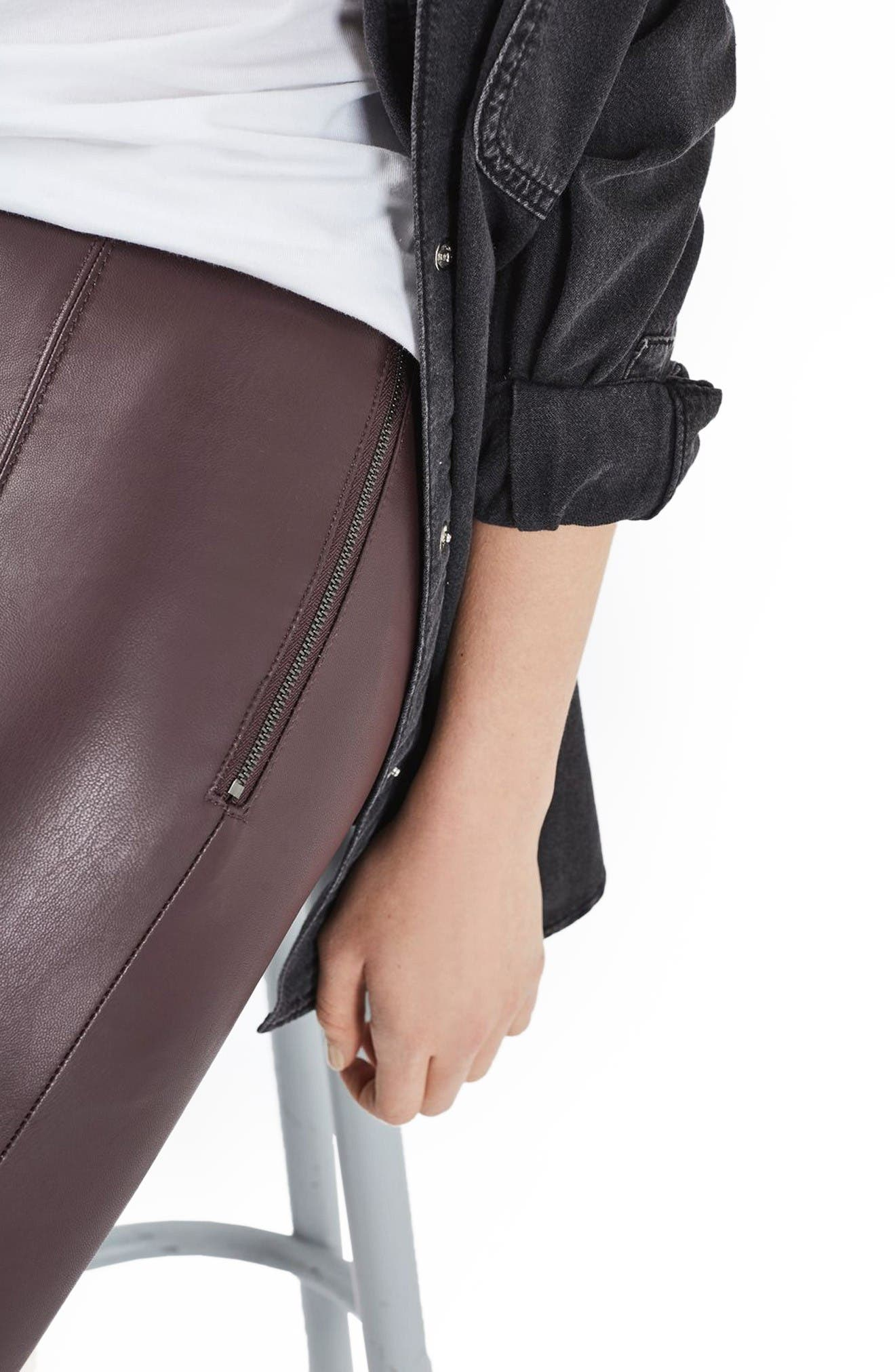 Percy Faux Leather Skinny Pants,                             Alternate thumbnail 5, color,                             Burgundy