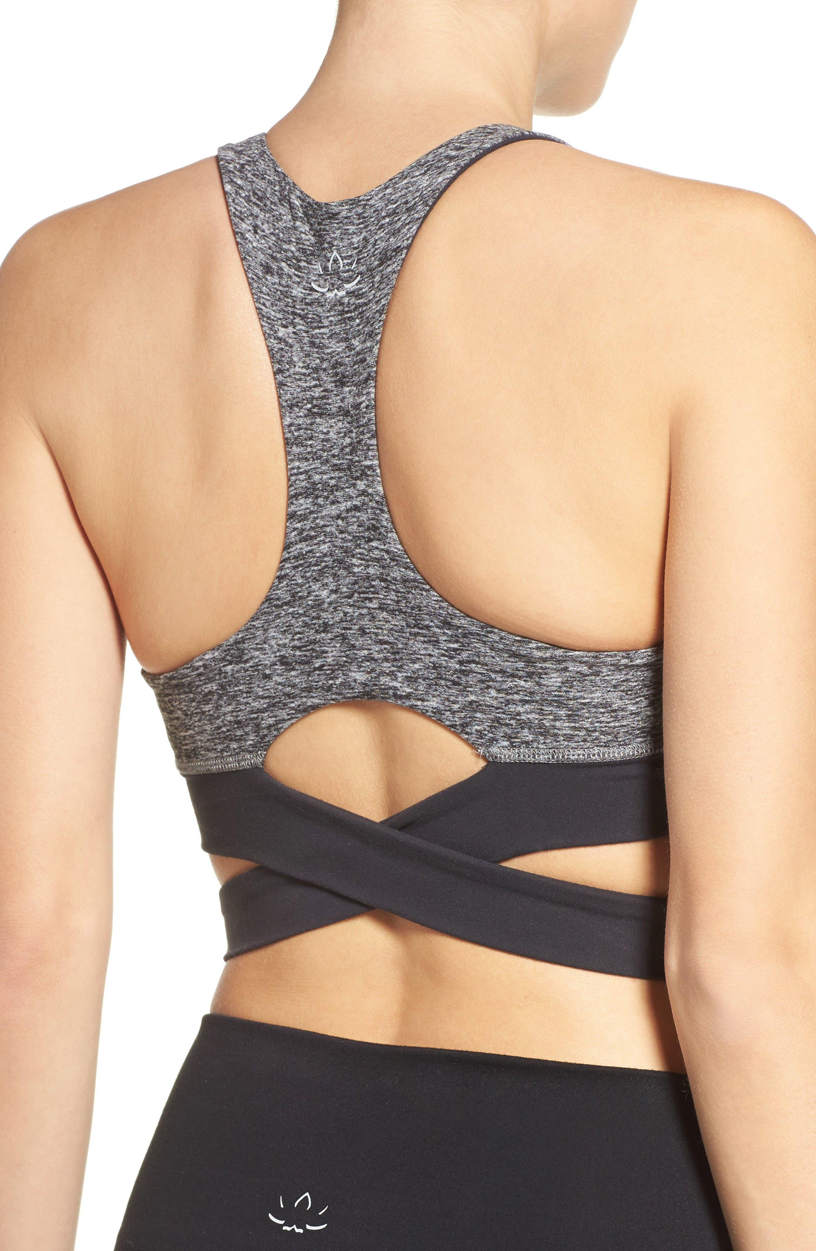 Cross Waist Sports bra,                             Alternate thumbnail 2, color,                             Black/ White