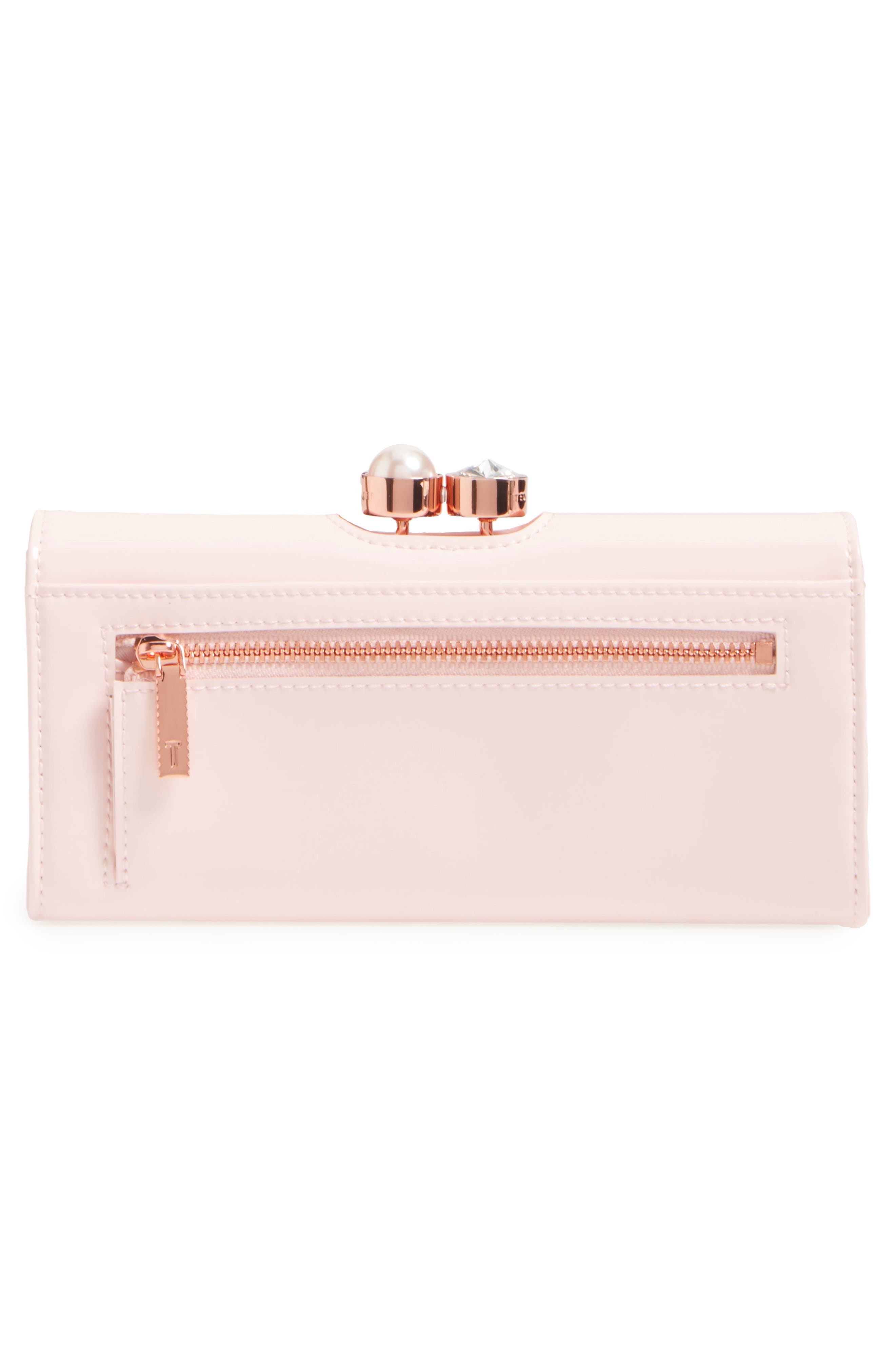 Leather Matinée Wallet,                             Alternate thumbnail 4, color,                             Baby Pink