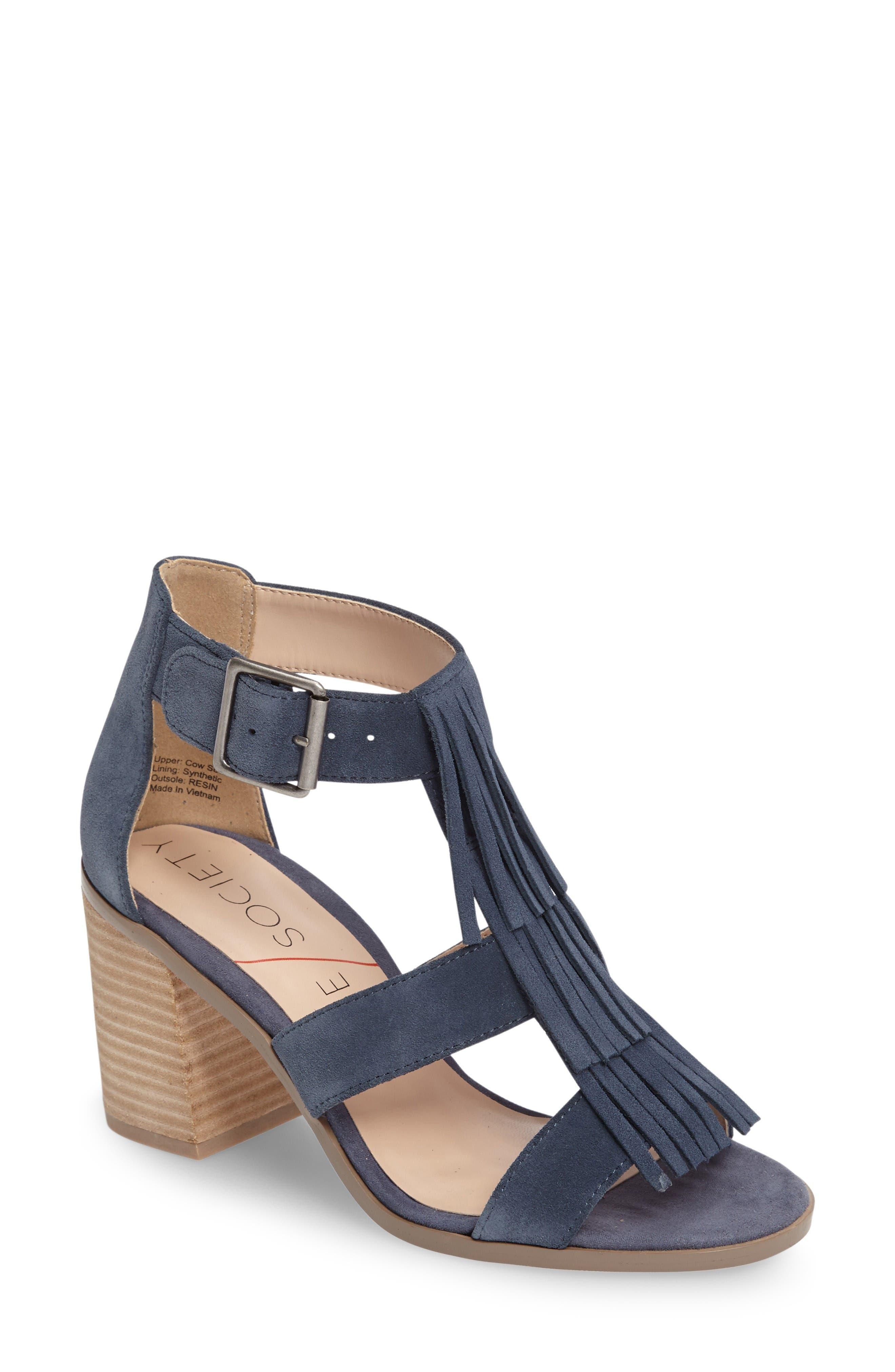 'Delilah' Fringe Sandal,                         Main,                         color, Vista Blue