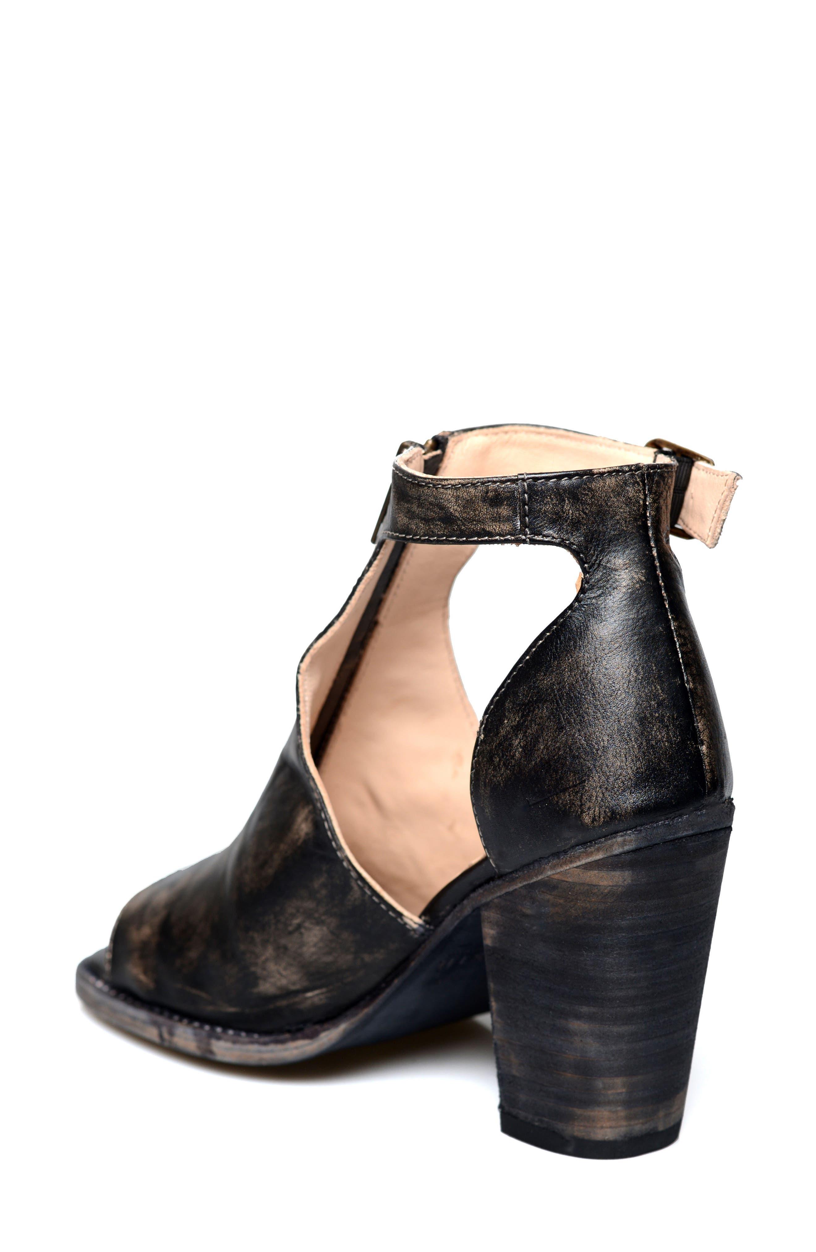Olena Open Toe Bootie,                             Alternate thumbnail 2, color,                             Black Leather