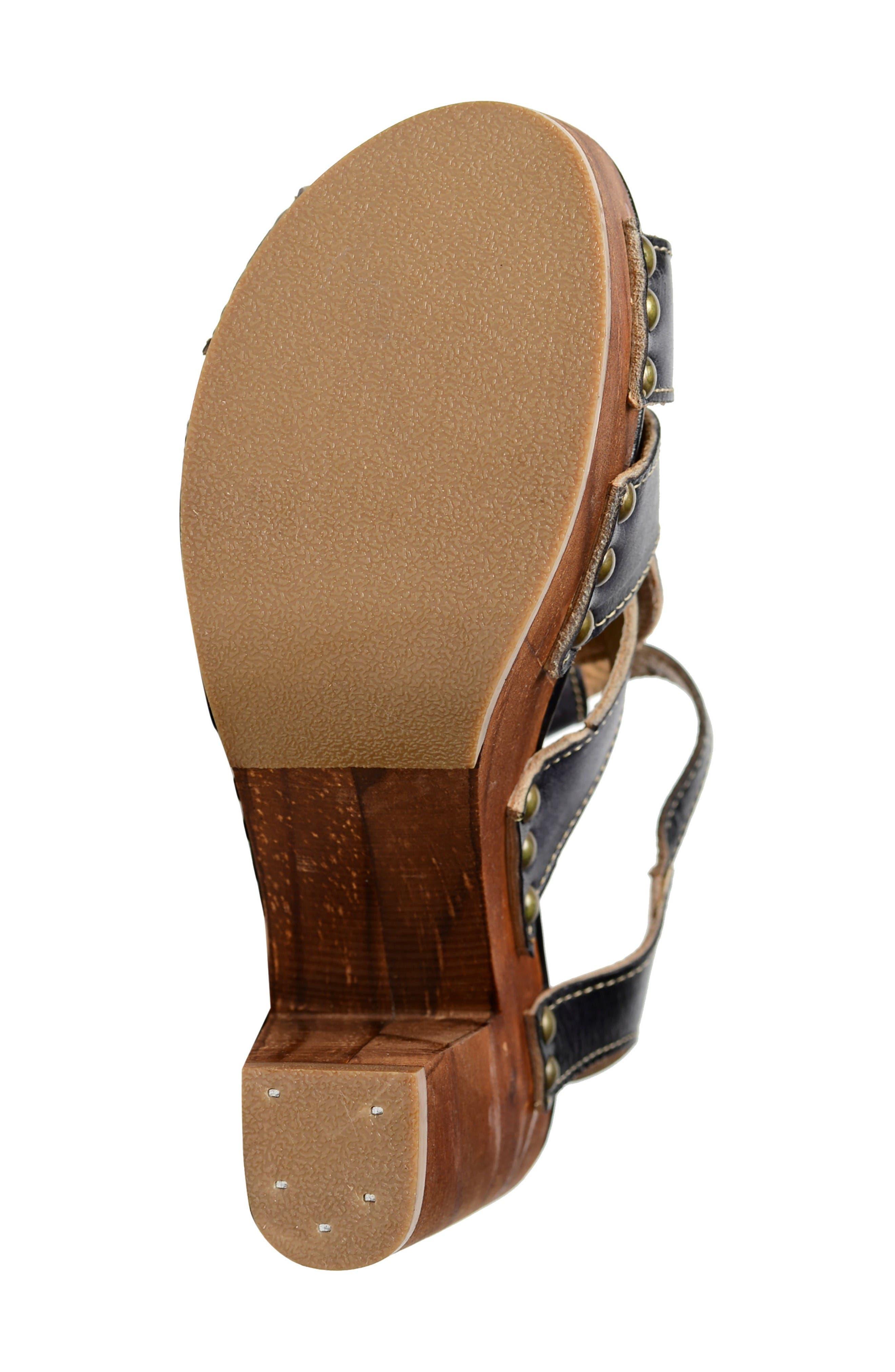 Caitlin Block Heel Sandal,                             Alternate thumbnail 4, color,                             Black Driftwood Leather