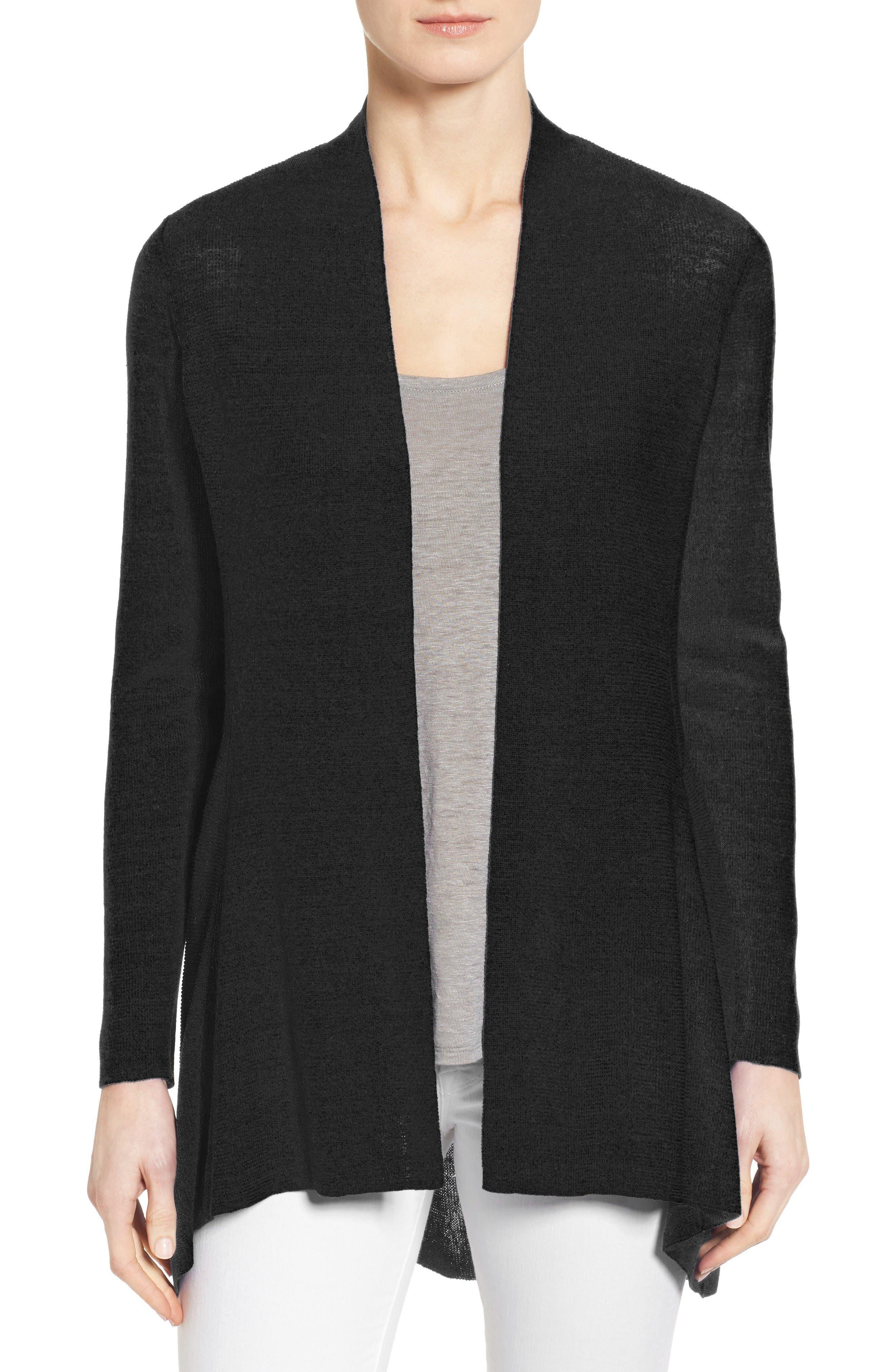 Alternate Image 1 Selected - Eileen Fisher Shaped Organic Linen Blend Cardigan (Regular & Petite)