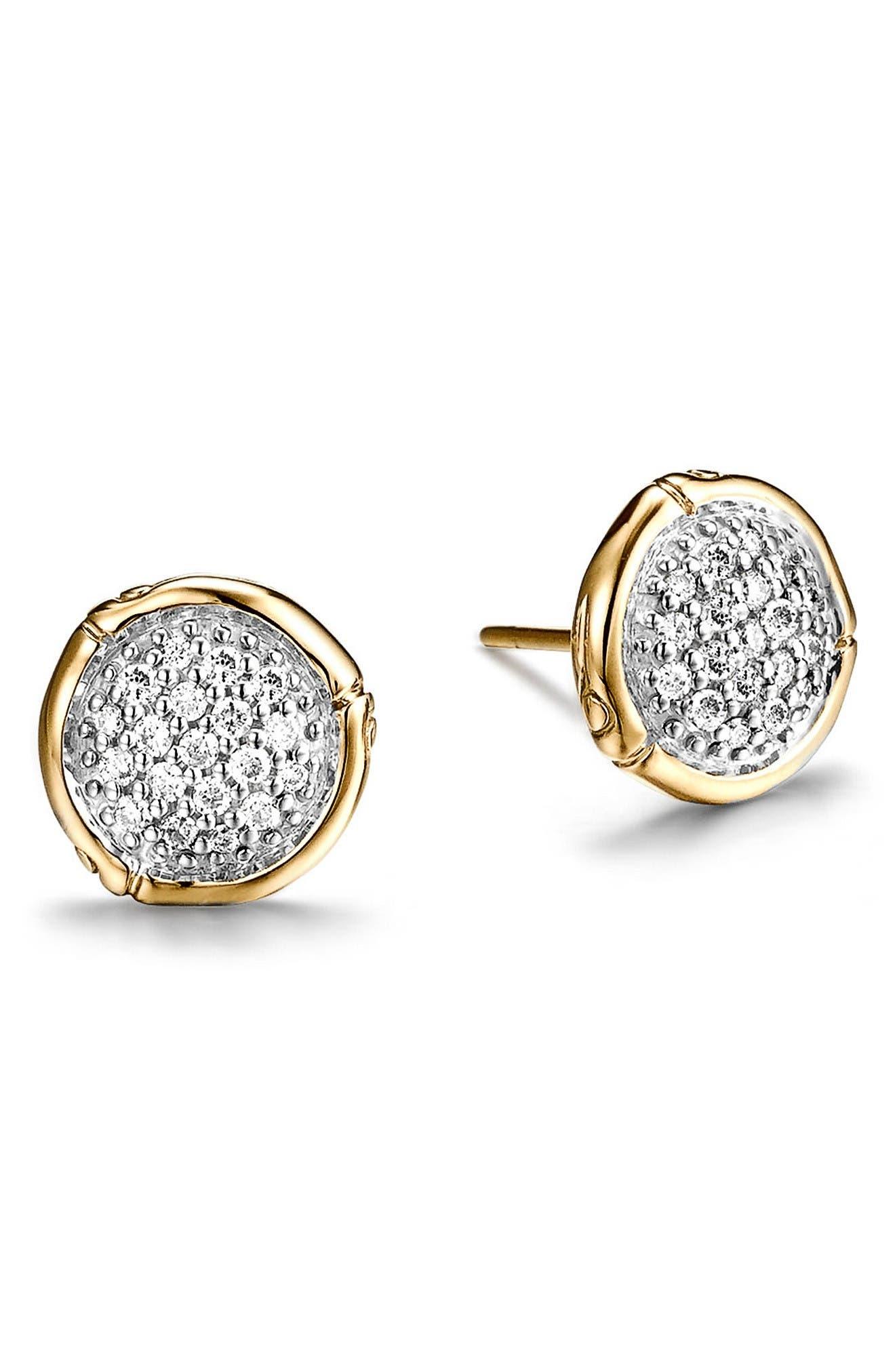 John Hardy Bamboo Diamond & 18k Gold Stud Earrings