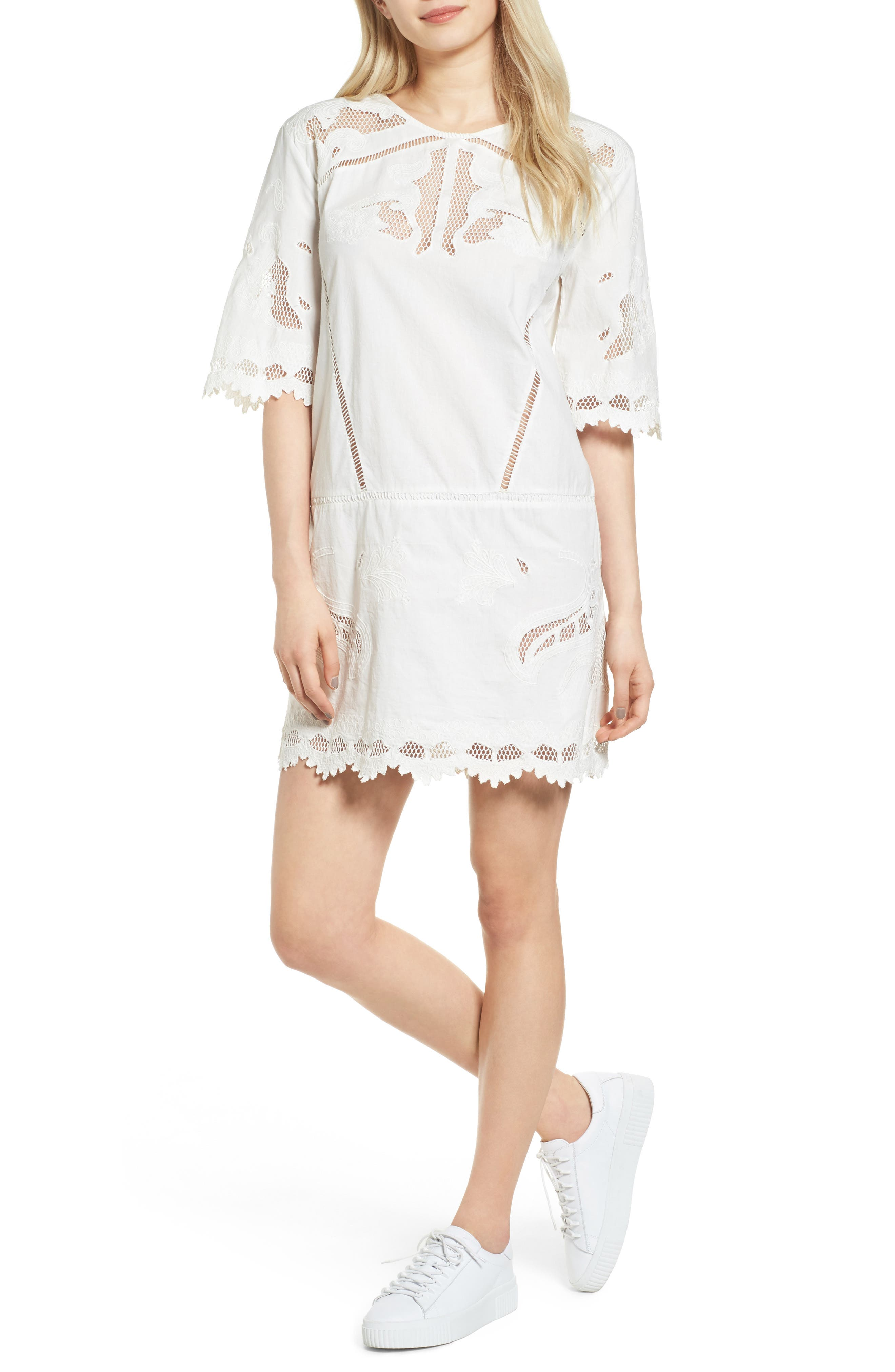 Embroidered Lace Dress,                         Main,                         color, Off White