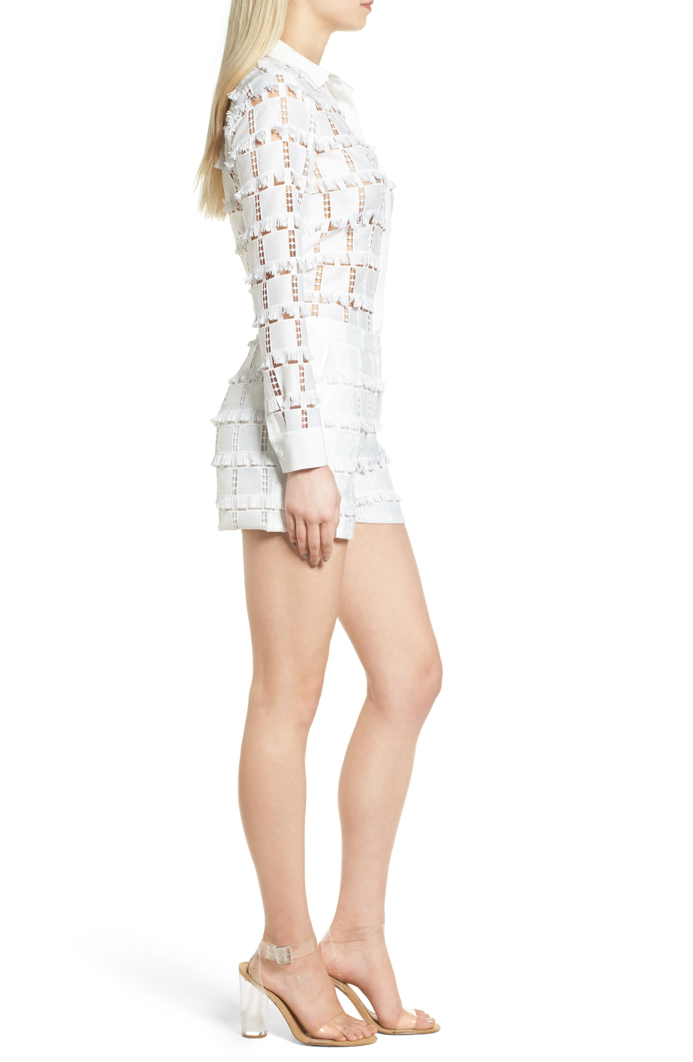 Lace Romper,                             Alternate thumbnail 3, color,                             White