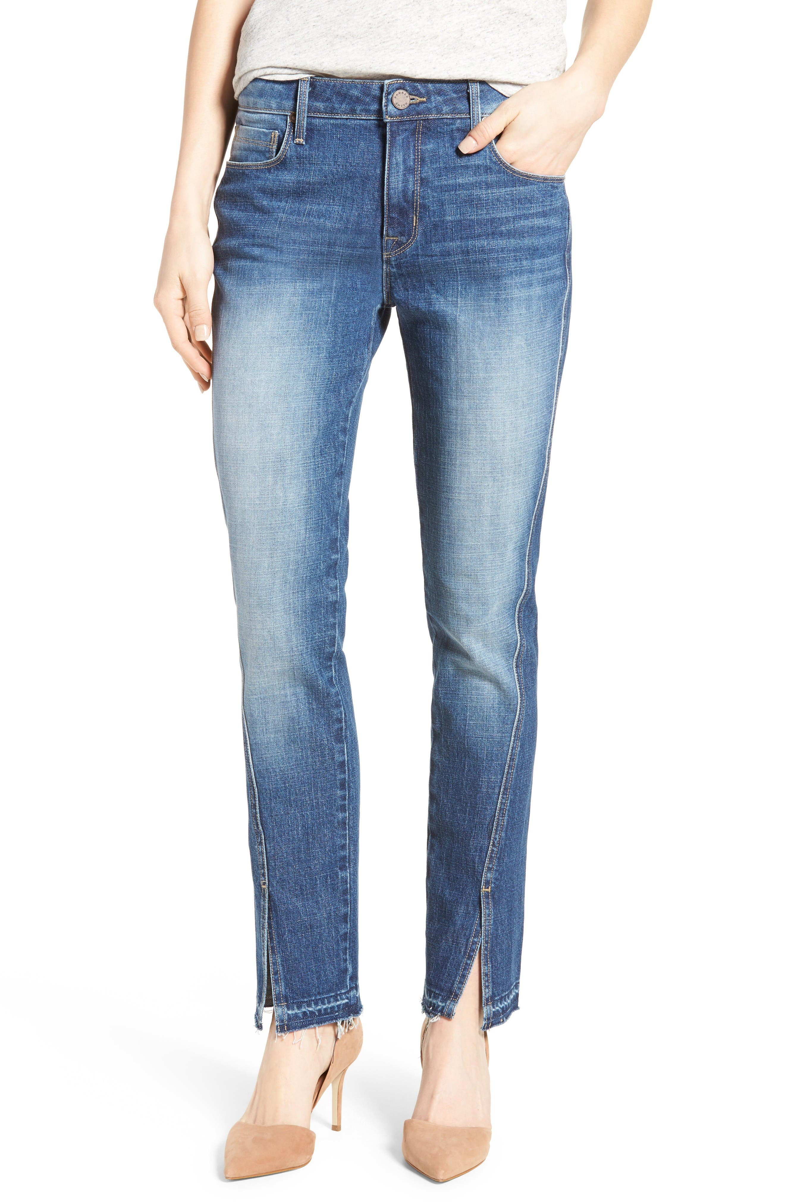 Vented Seam Straight Leg Jeans,                         Main,                         color, Clean Runway