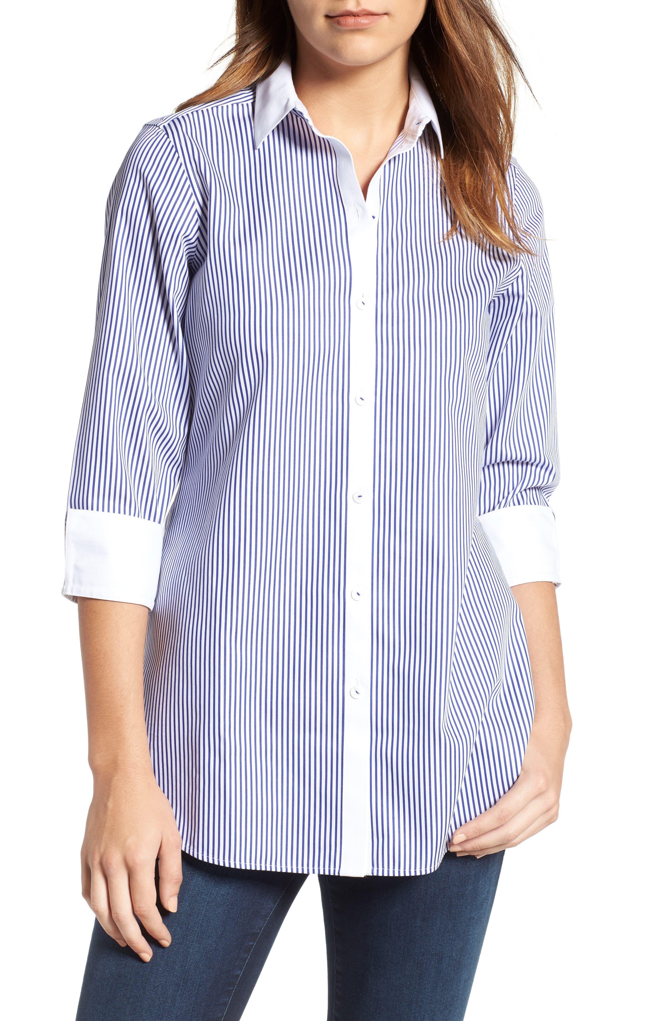 Mini Stripe Non-Iron Tunic Shirt,                             Main thumbnail 1, color,                             Blue Lagoon