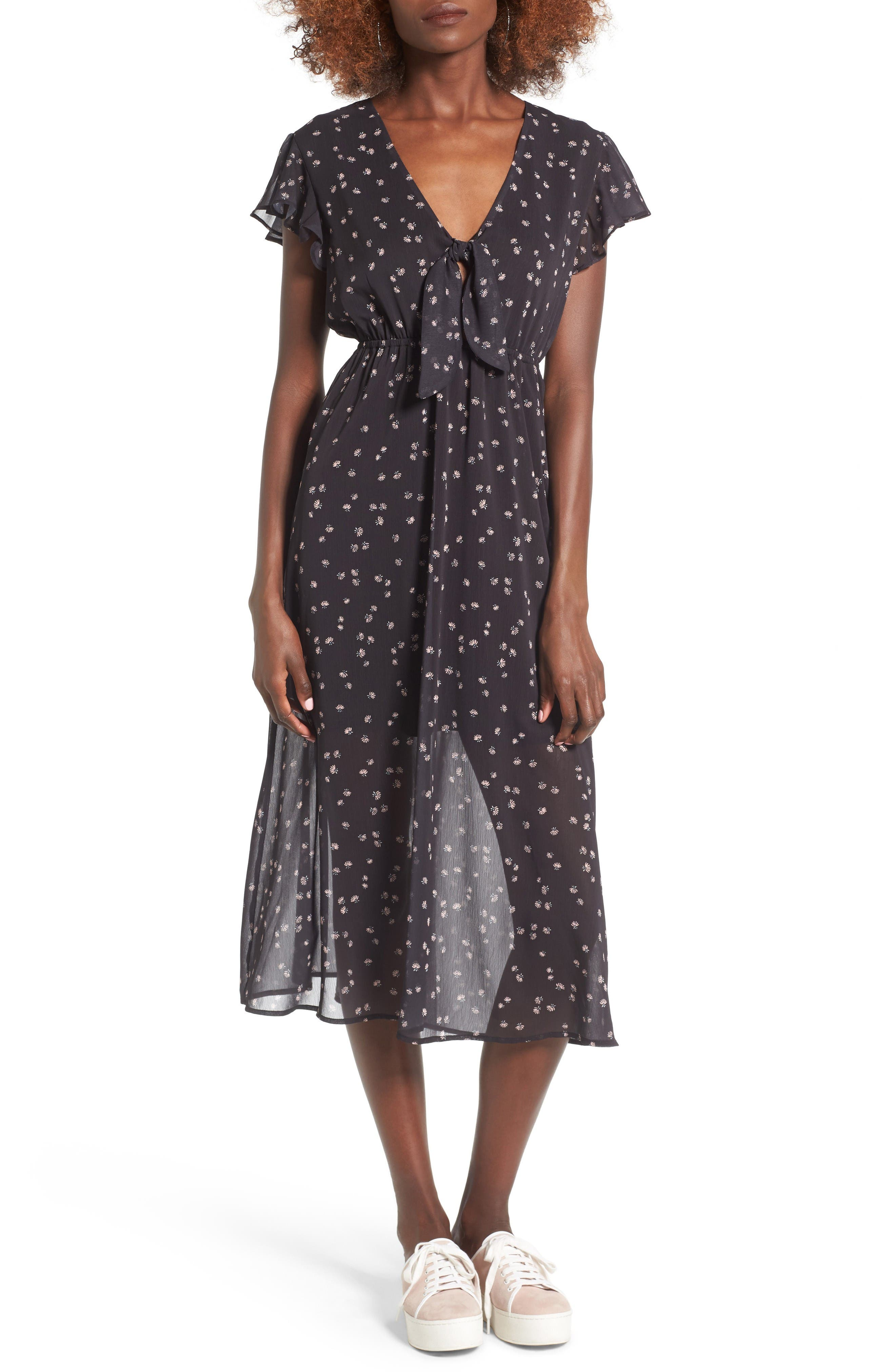 Alternate Image 1 Selected - Love, Fire Tie Front Midi Dress