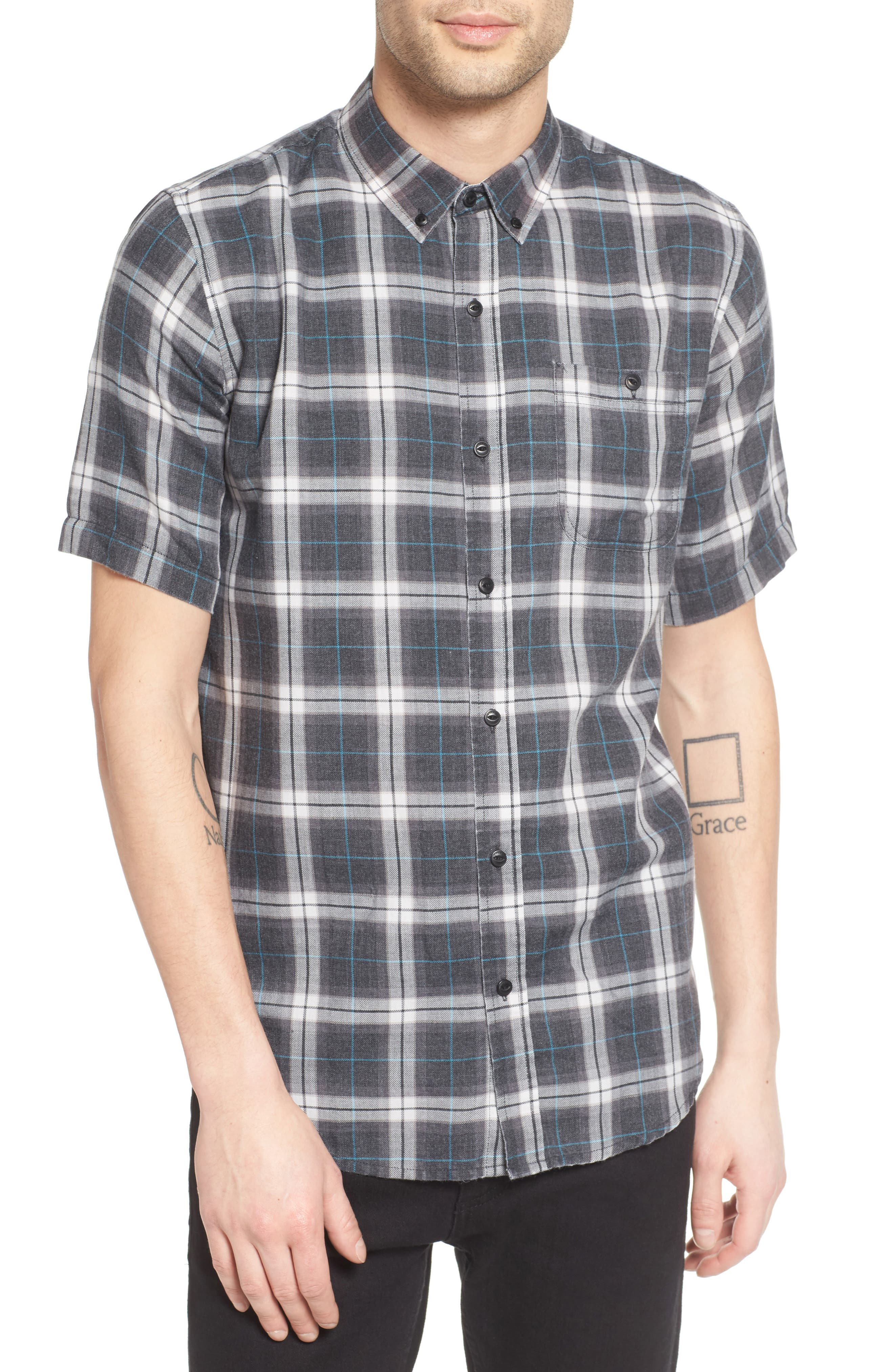 Plaid Shirt,                         Main,                         color, Black