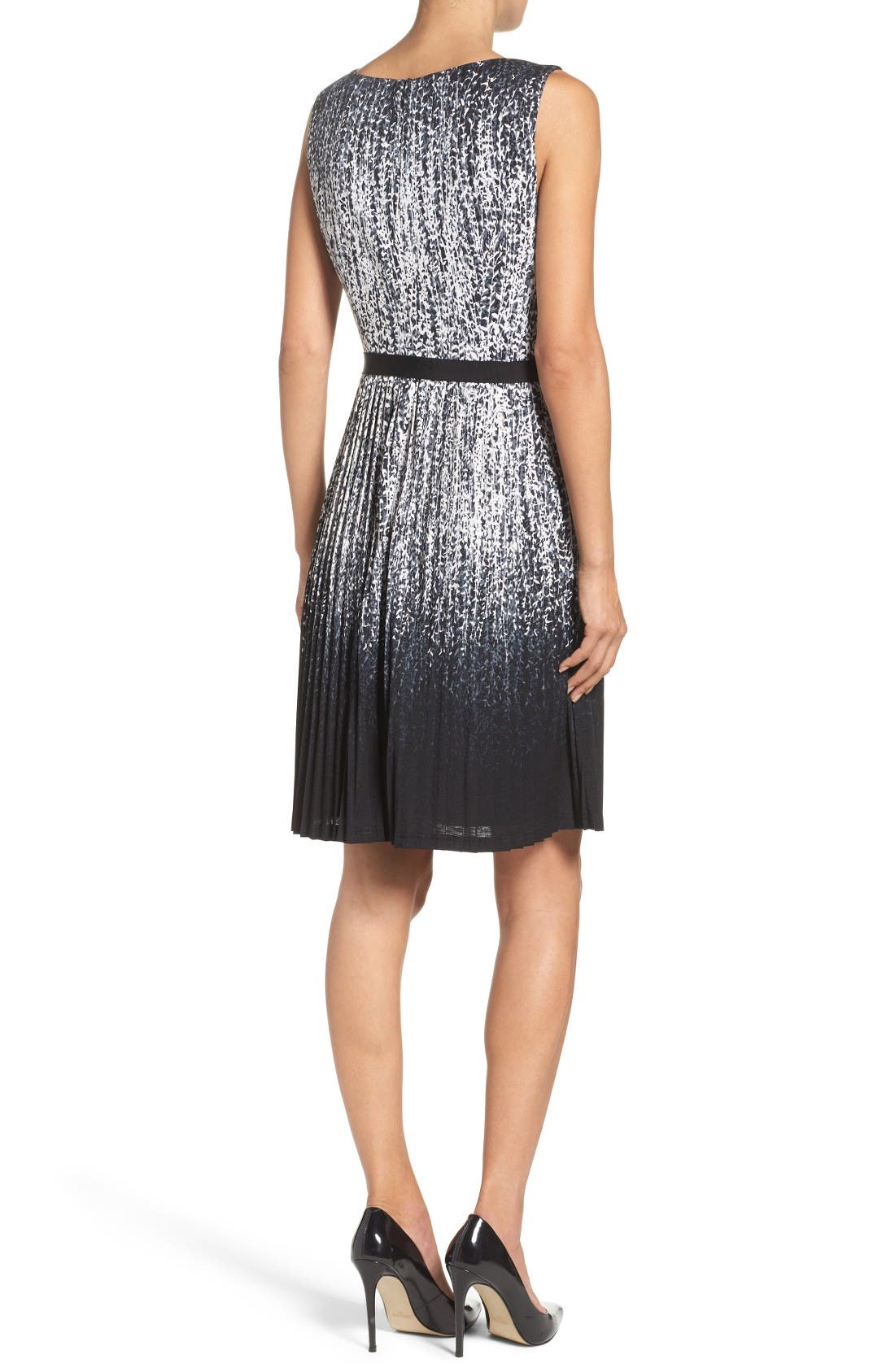 Pleat Fit & Flare Dress,                             Alternate thumbnail 2, color,                             Black/ Ivory