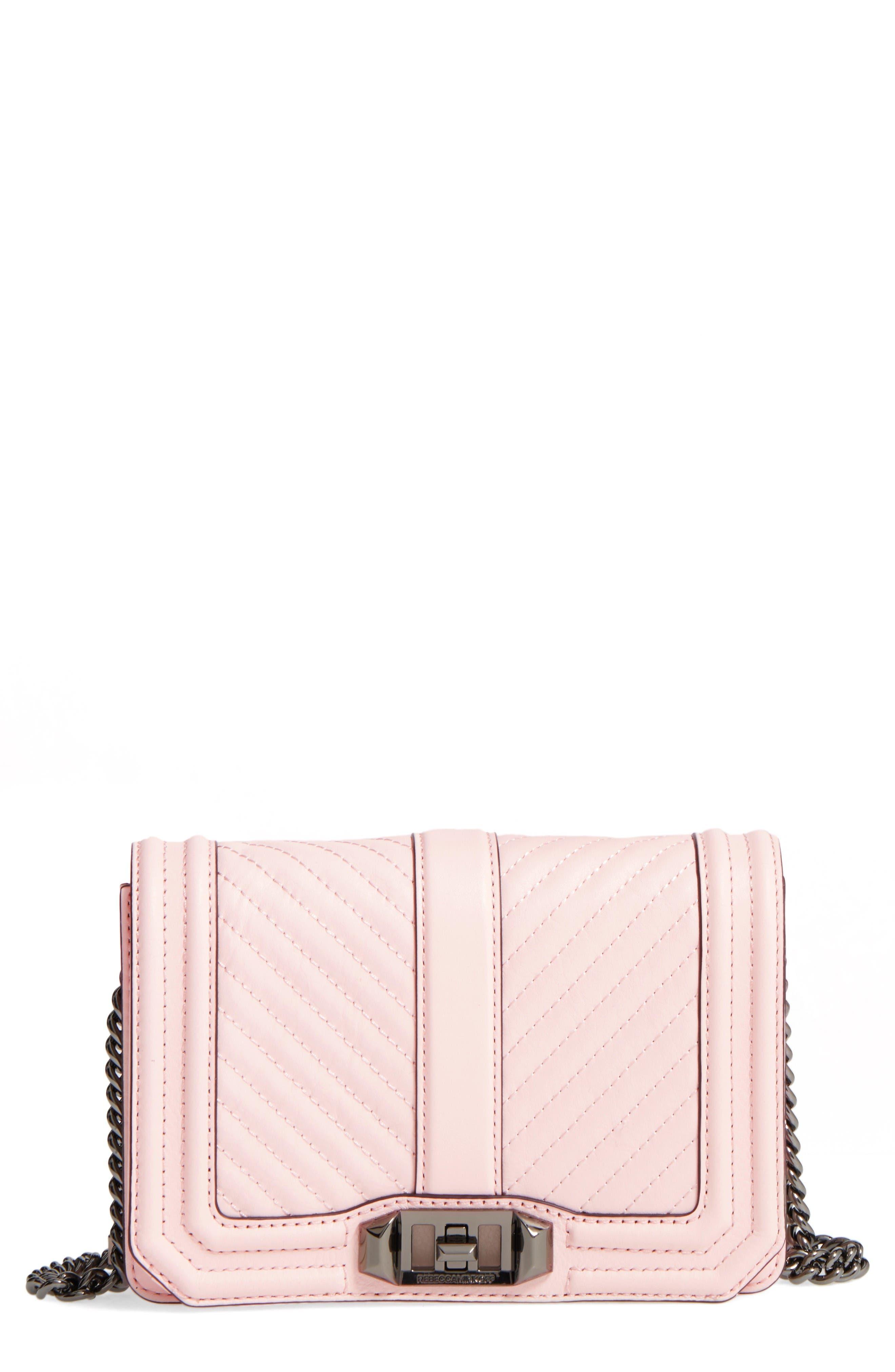 Small Love Leather Crossbody Bag,                             Main thumbnail 1, color,                             Soft Blush/ Gunmetal