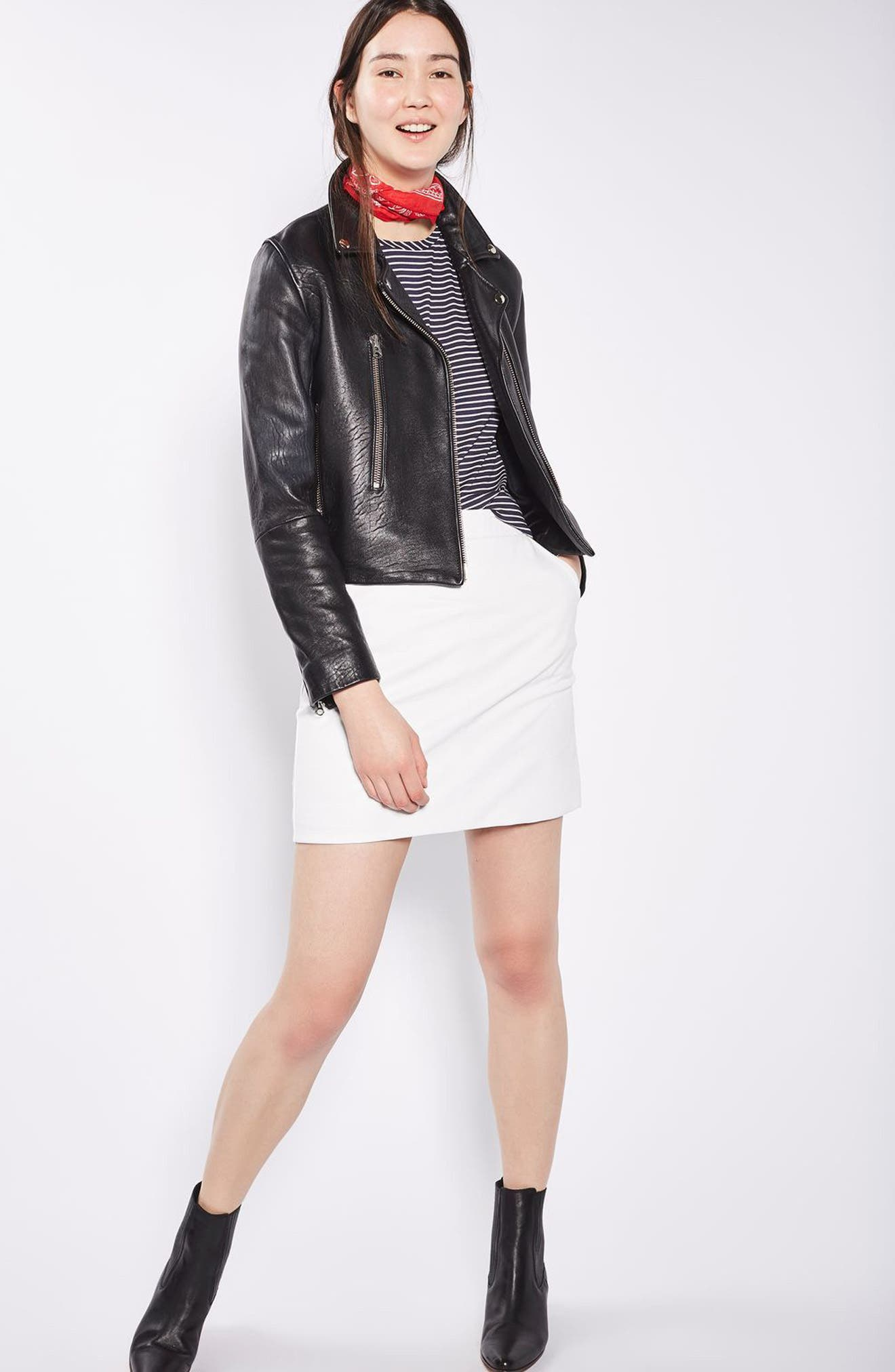 Faux Leather Pencil Skirt,                             Alternate thumbnail 2, color,                             White