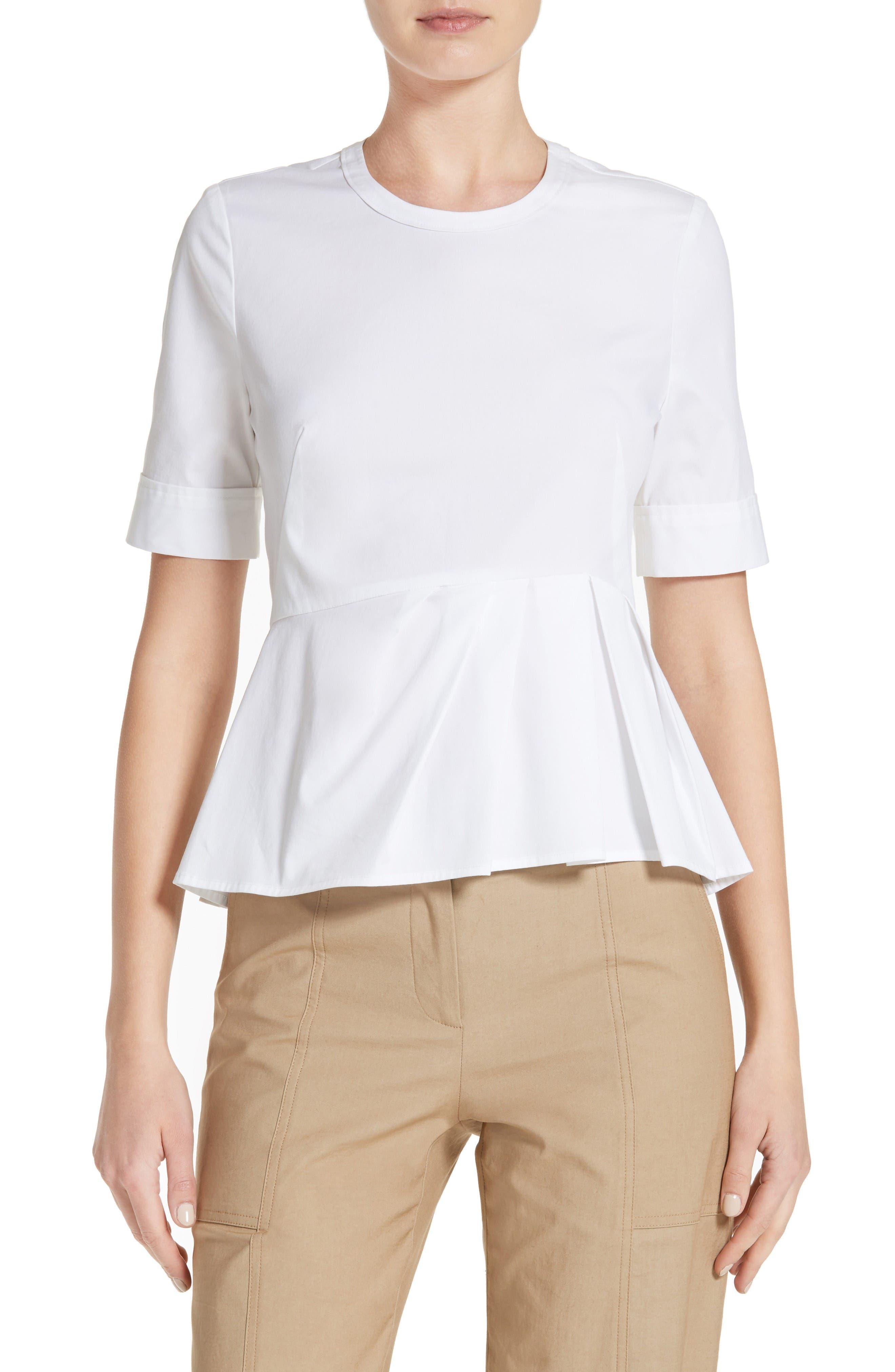 Cotton Peplum Top,                         Main,                         color, White