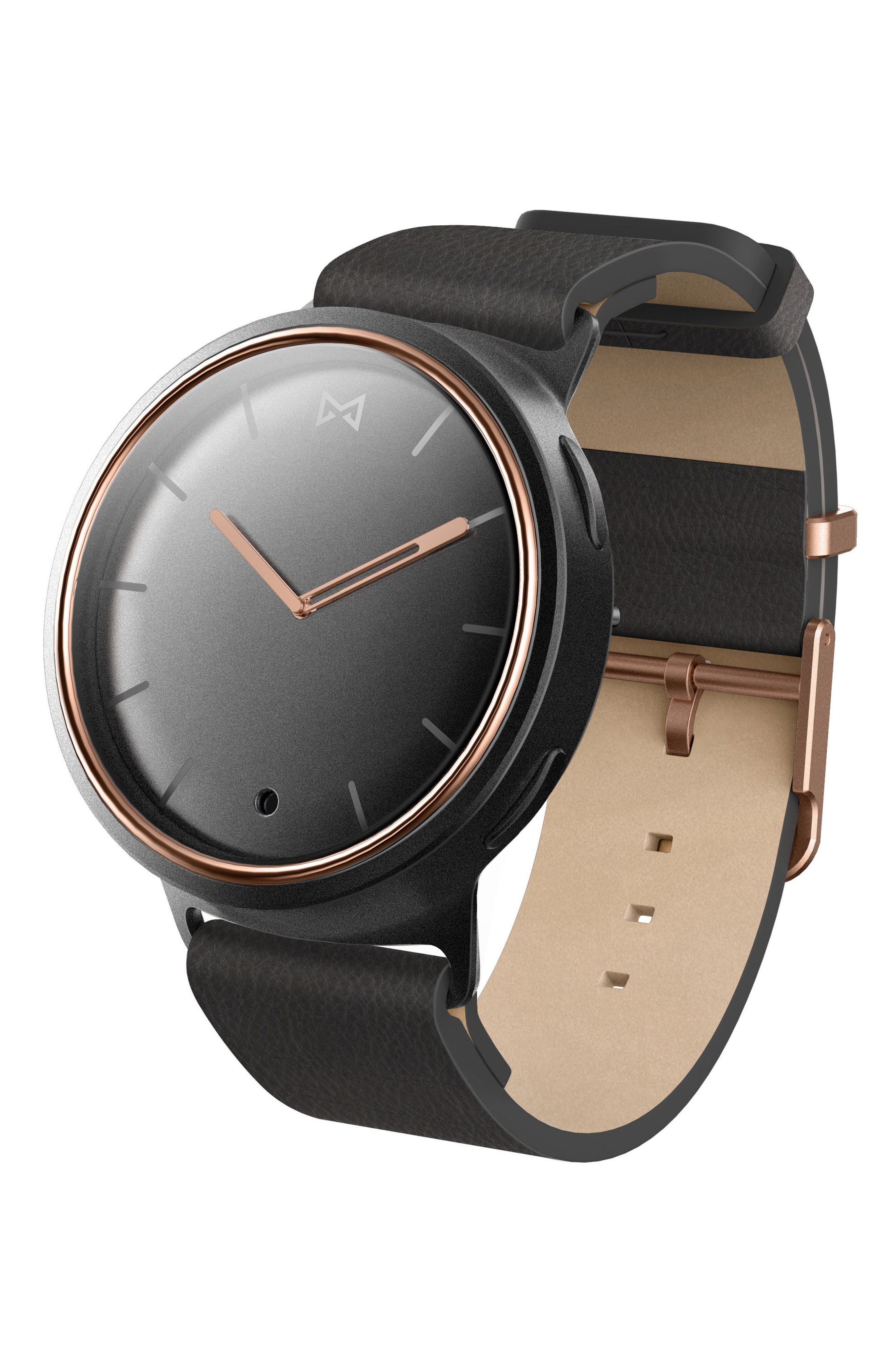 Phase Leather Strap Smart Watch, 40mm,                         Main,                         color, Black/ Gold